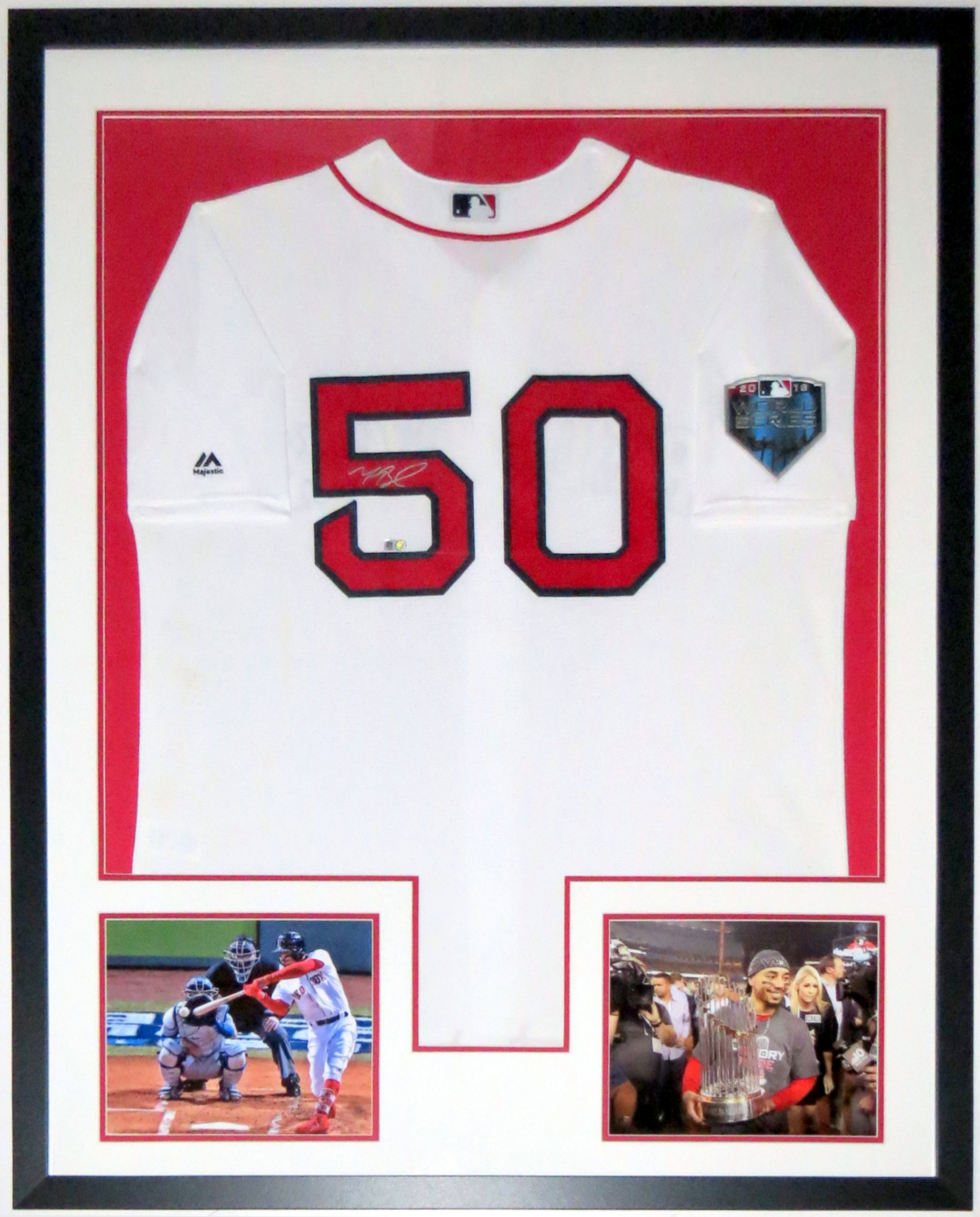 Mookie Betts Signed Boston Red Sox 2018 World Series Jersey - MLB COA Authenticated - Professionally Framed & 2 8x10 Photo