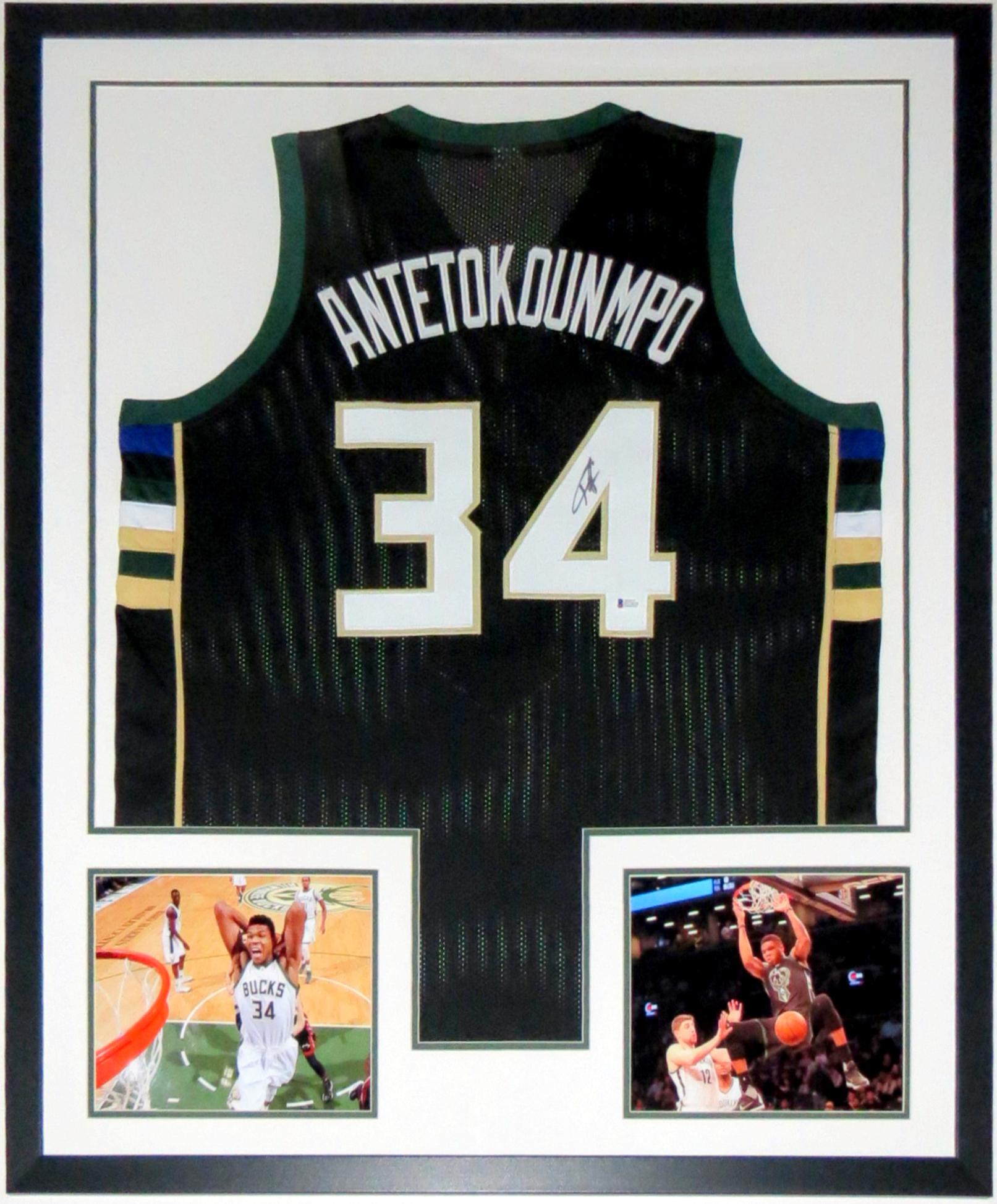 Giannis Antetokounmpo Signed Nike Milwaukee Bucks Jersey - Beckett BAS COA Authenticated - Professionally Framed & 8x10 Photo
