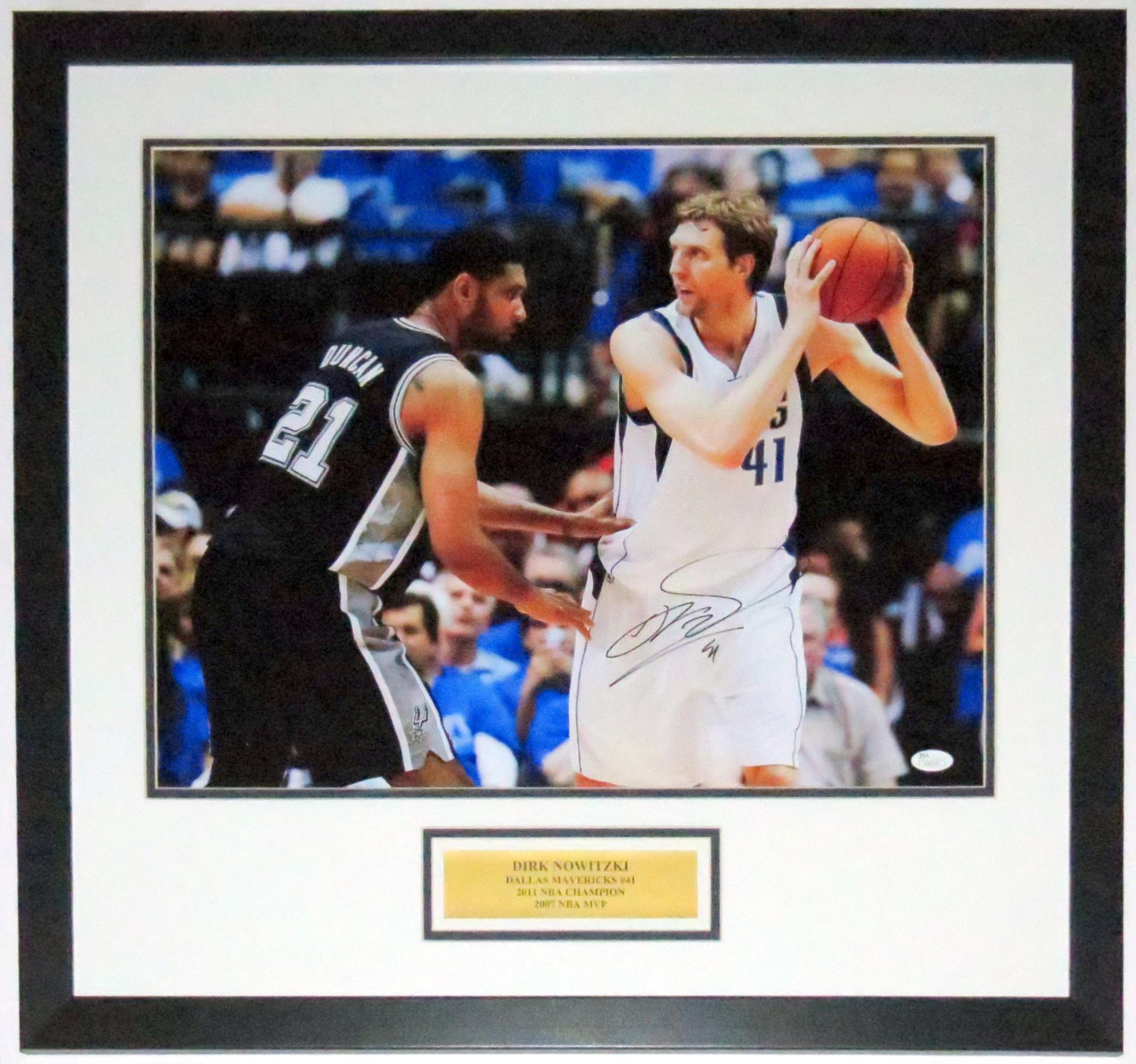 Dirk Nowitzki Signed Dallas Mavericks 16x20 Photo - JSA COA Authenticated - Professionally Framed & Plate