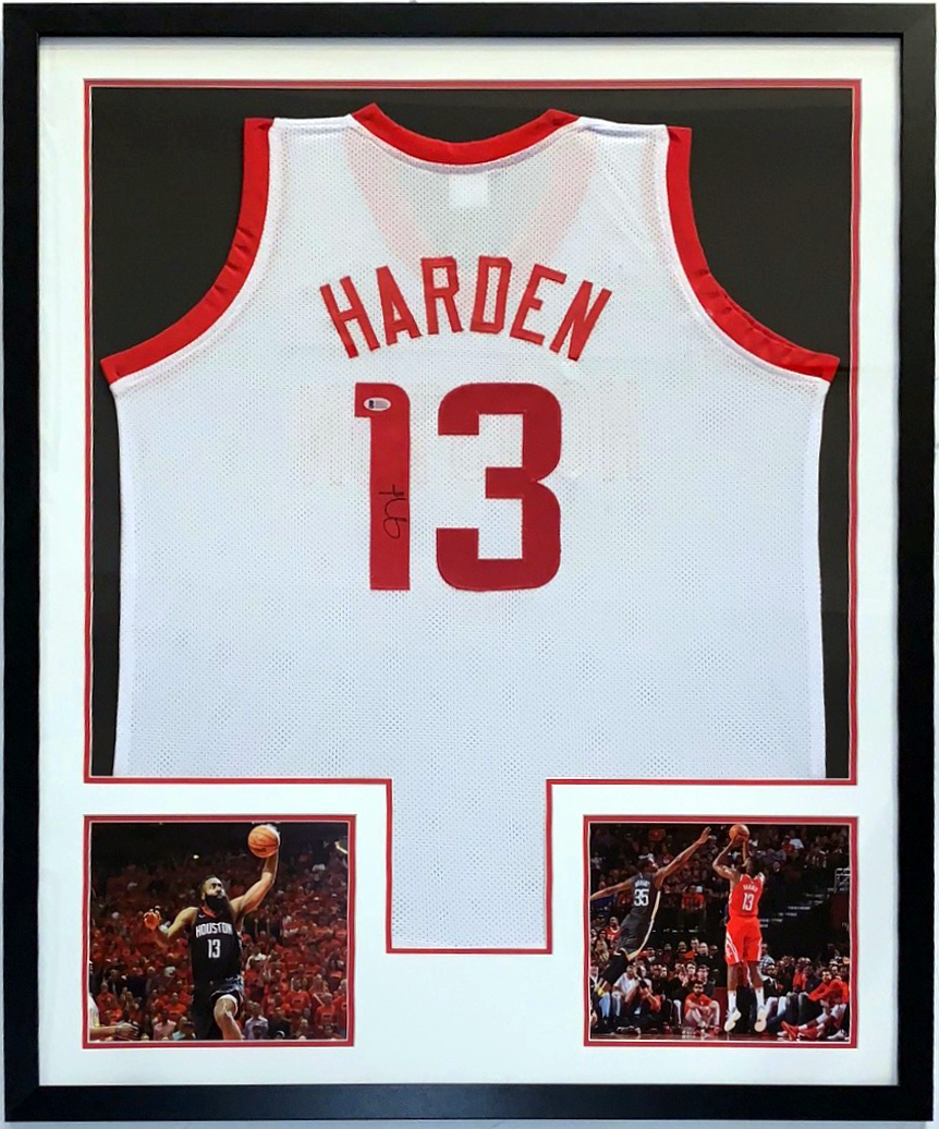 5402d927d James Harden Signed Huston Rockets Jersey - BAS Beckett Authentication  Services COA - Professionally Framed With