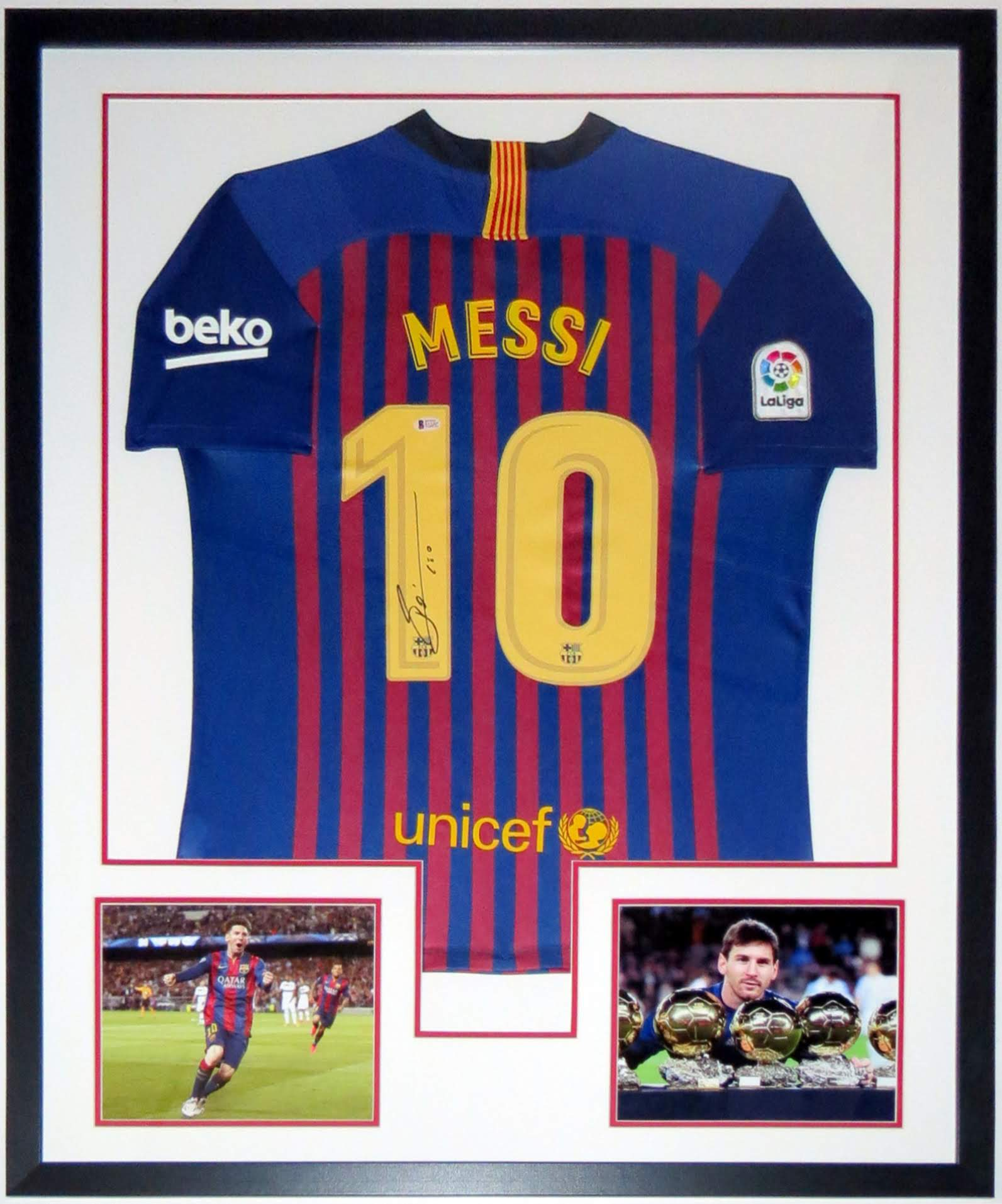 Lionel Messi Signed Barcelona Jersey BAS Authenticated   Professionally Framed and Photos