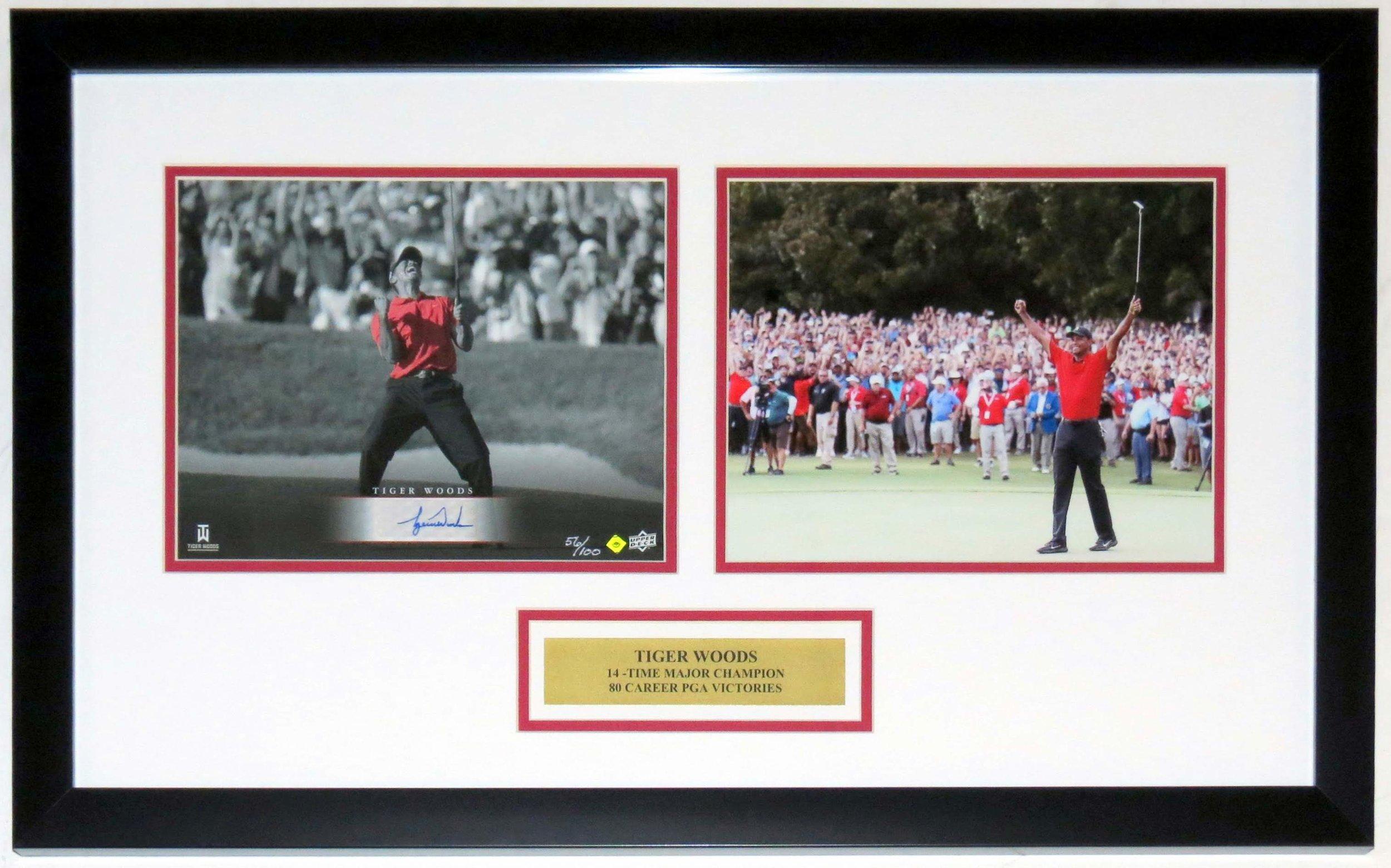 Tiger Woods Signed UDA Photo Set Framed