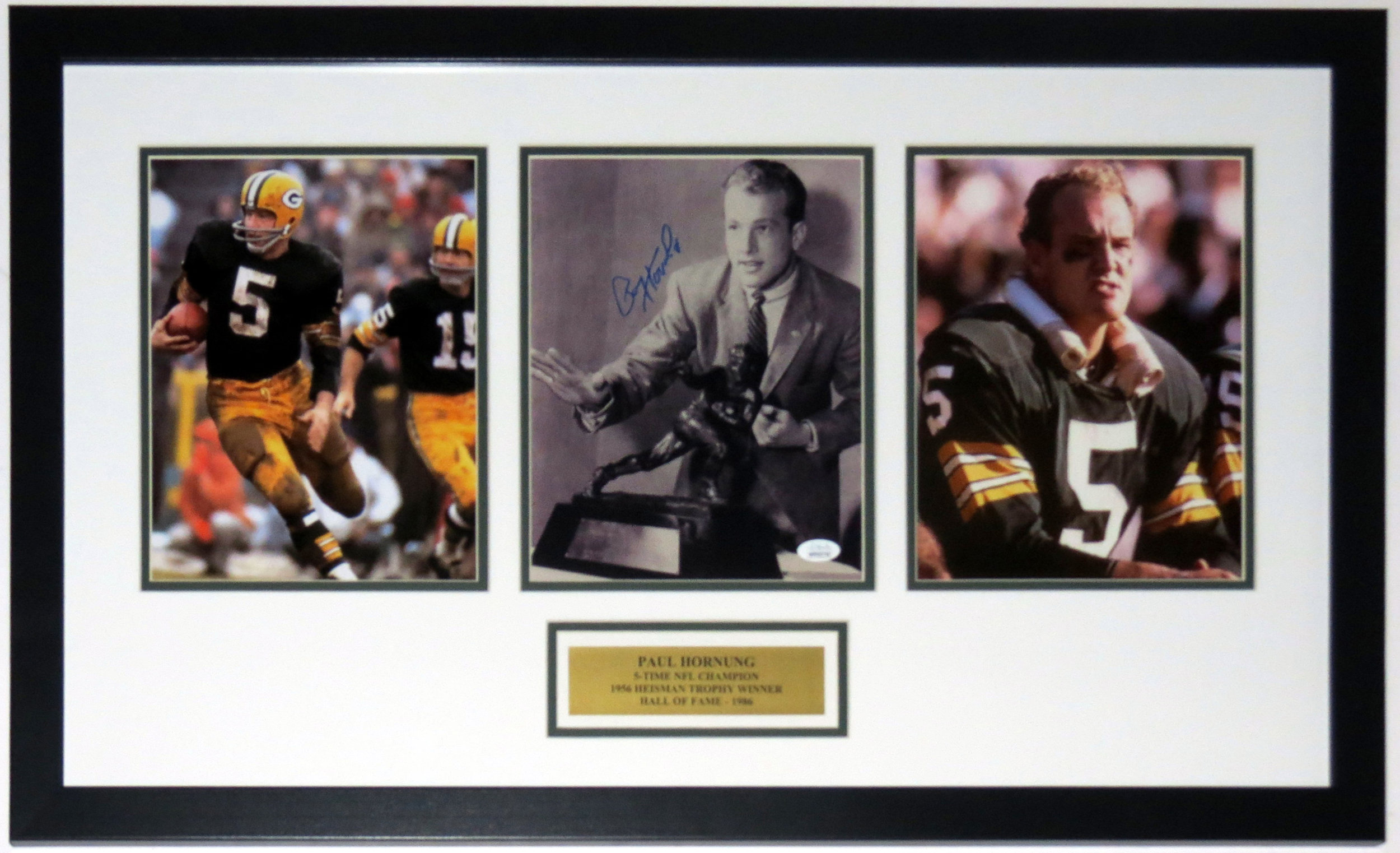 Paul Hornung Signed Green Bay Packers 8x10 Photo Compilation - JSA COA Authenticated - Professionally Framed & Plate