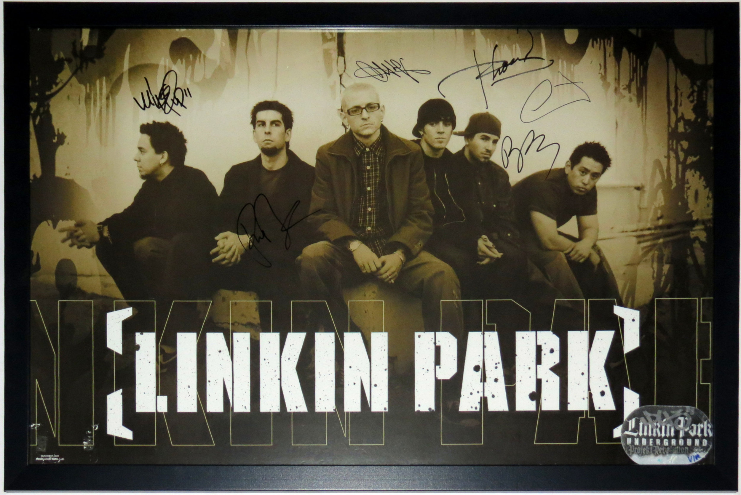 Linkin Park Group Signed 6x 24x36 Tour Poster - JSA COA  Authenticated - Professionally Framed