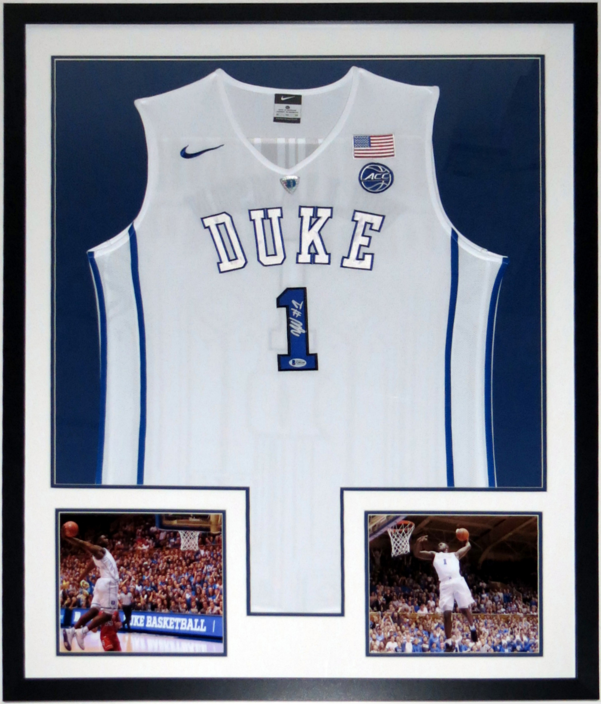 Zion Williamson Autographed Nike Duke Blue Devils Jersey -Beckett Authentication Services BAS COA - Professionally Framed & 2 8x10 Photo