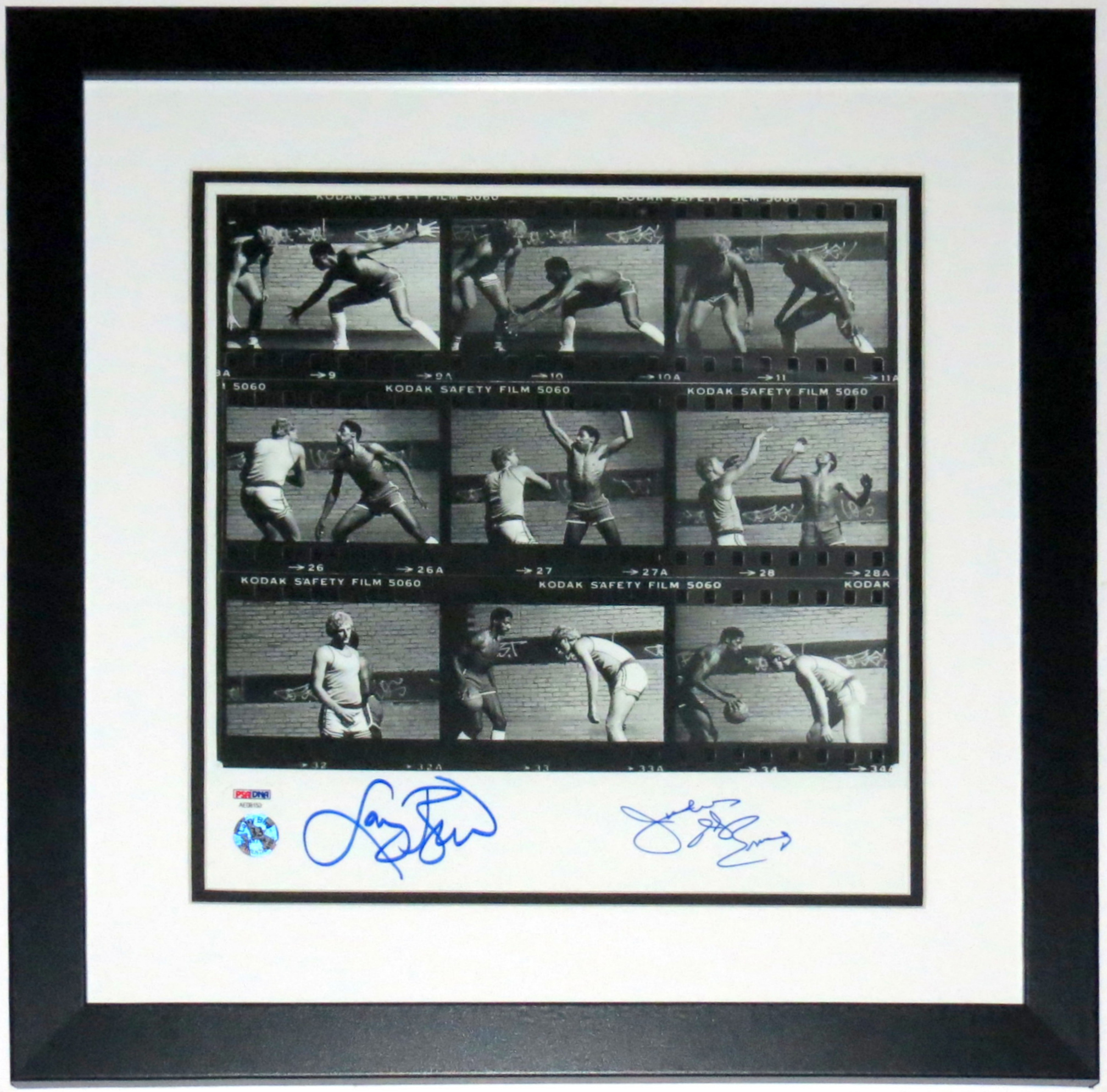 Larry Bird and Julius Erving Dr. J Dual Signed 12x12 Photo - PSA DNA COA Authenticated - Professionally Framed