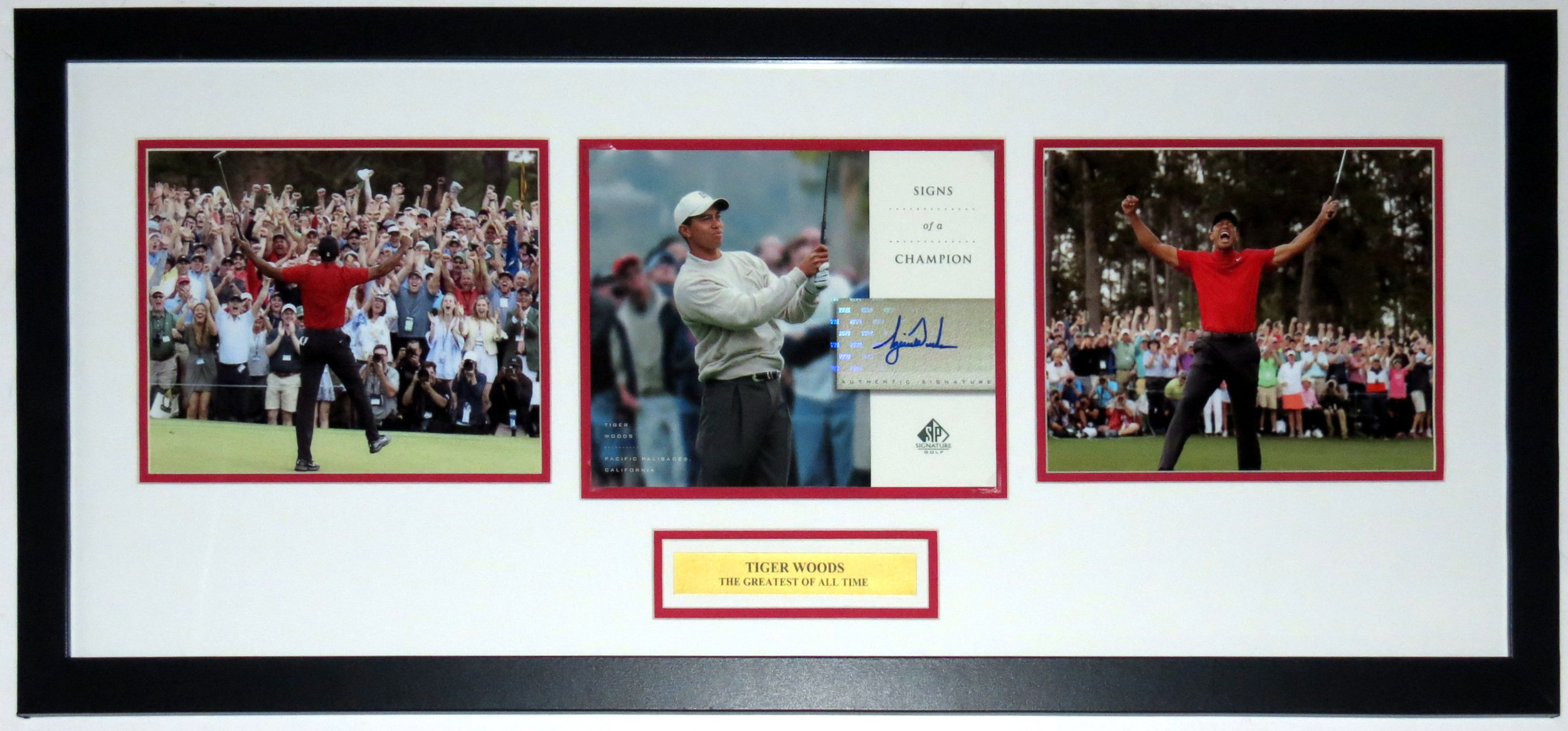 Tiger Woods Signed 2019 Masters 3 8x10 Photo Compilation - Upper Deck Authenticated UDA COA - Professionally Framed & Greatest of All Time Plate