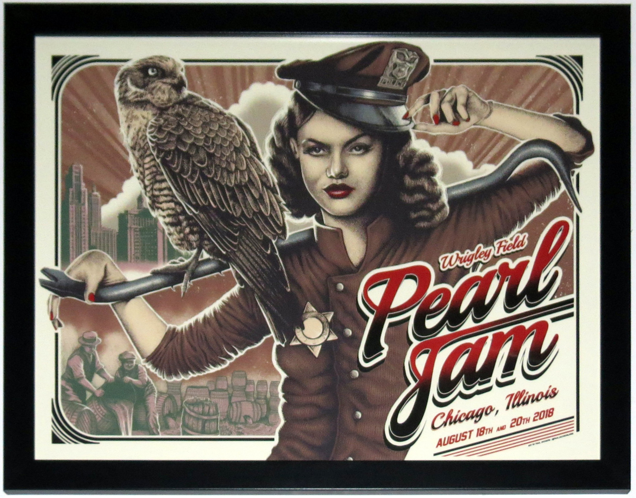 Pearl Jam 2018 Wrigley Field Chicago Tour Poster 8/18/18 8/20/18 Paul Jackson - Professionally Framed