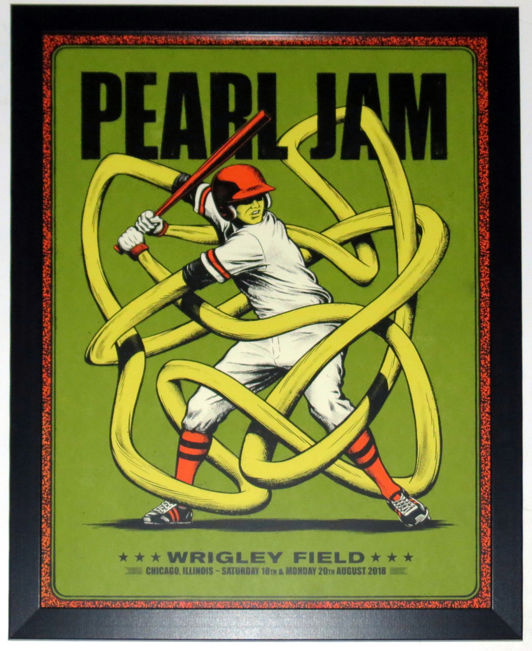 Pearl Jam 2018 Wrigley Field Chicago Tour Poster 8/18/18 8/20/18 Andrew Fairclough - Professionally Framed