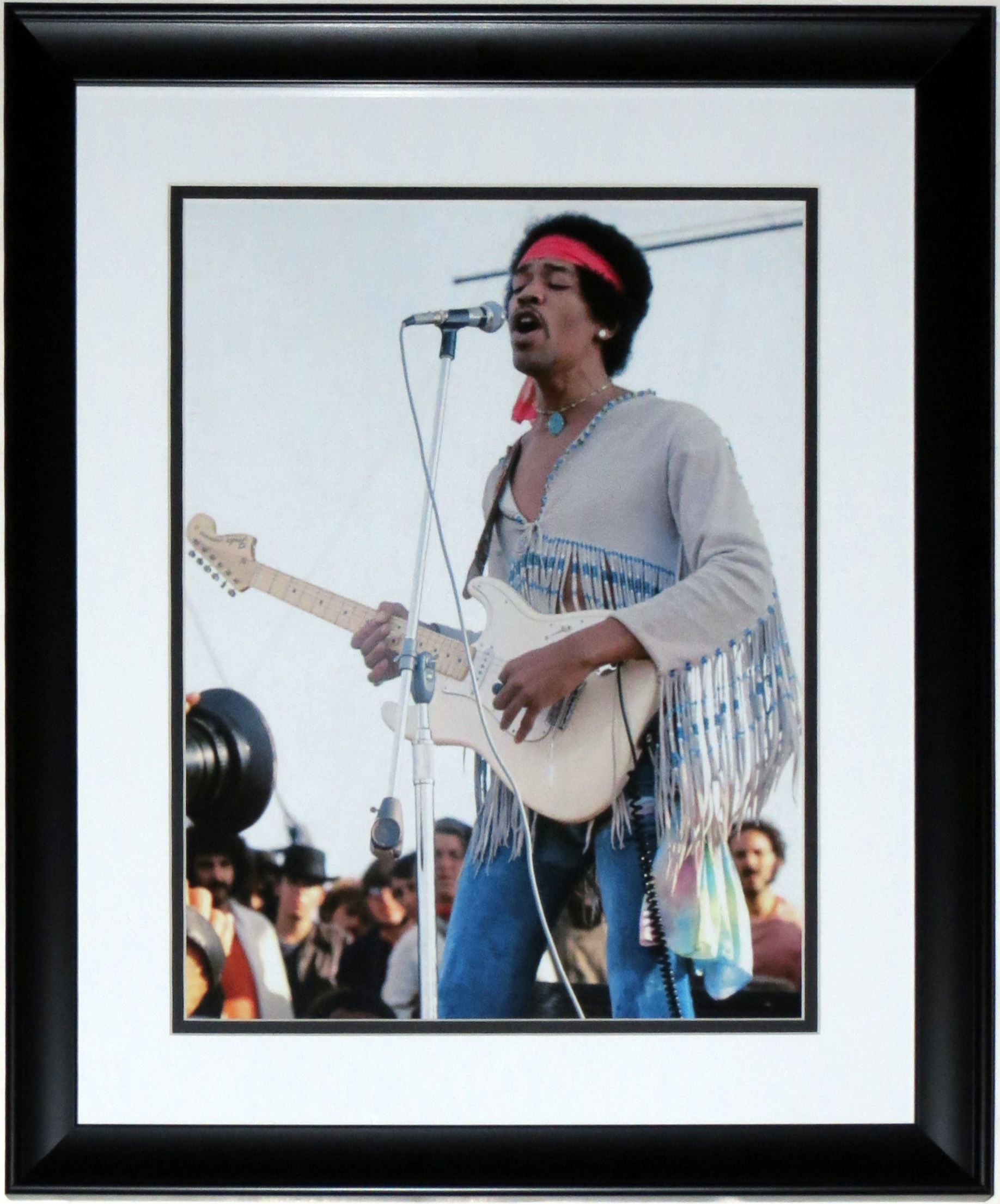 Jimi Hendrix 1969 Woodstock 11x14 Concert Photo - Professionally Framed