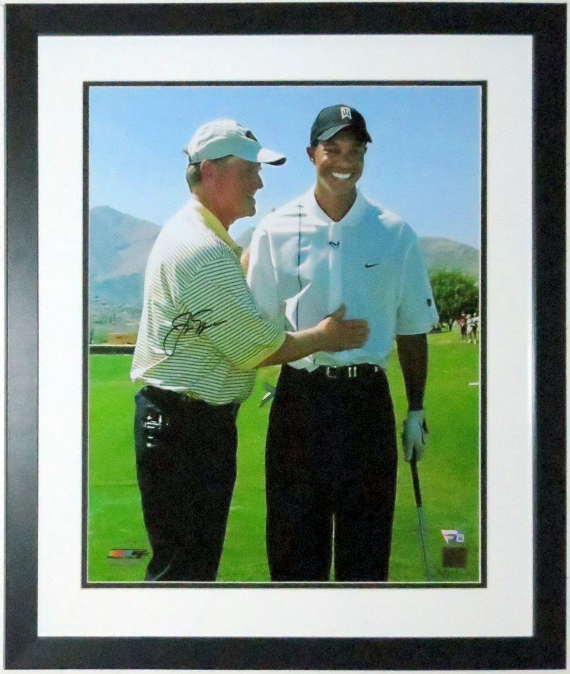 Jack Nicklaus with Tiger Woods Signed 16x20 Photo - Fanatics COA Authenticated - Professionally Framed