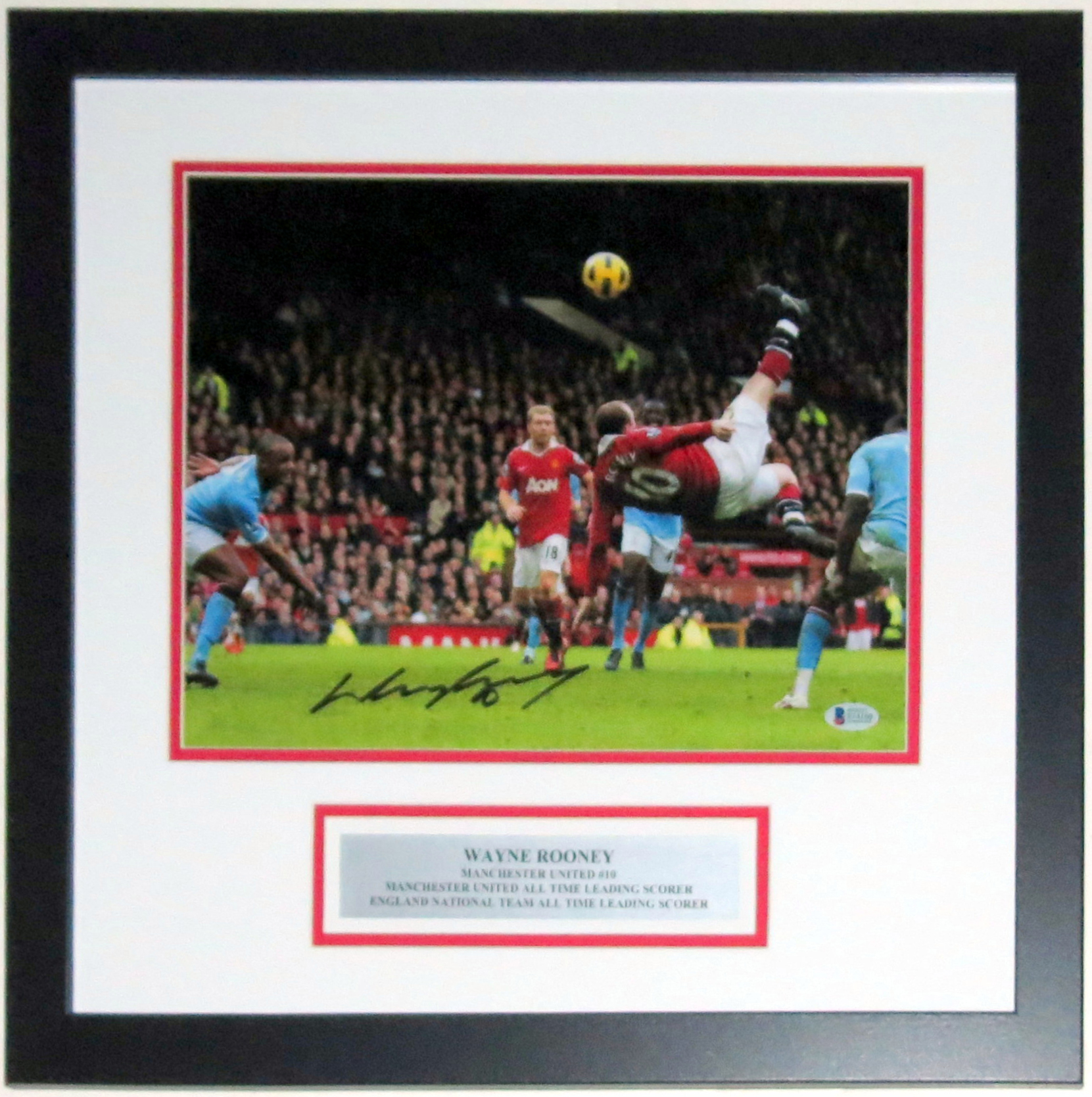 Wayne Rooney Signed Manchester United Bicycle Kick 11x14 Photo - Beckett Authentication Services BAS COA - Professionally Framed & Plate