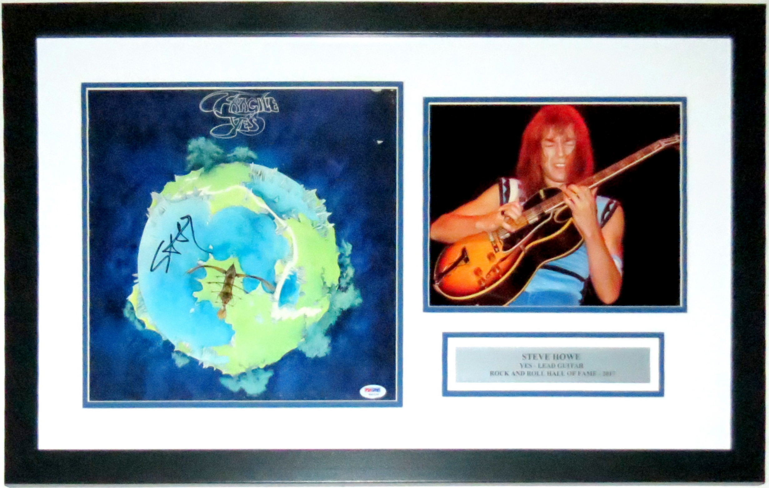 Steve Howe Signed Yes Fragile Album - PSA DNA COA Authenticated - Professionally Framed with Concert 8x10 Photo & Plate 28x18