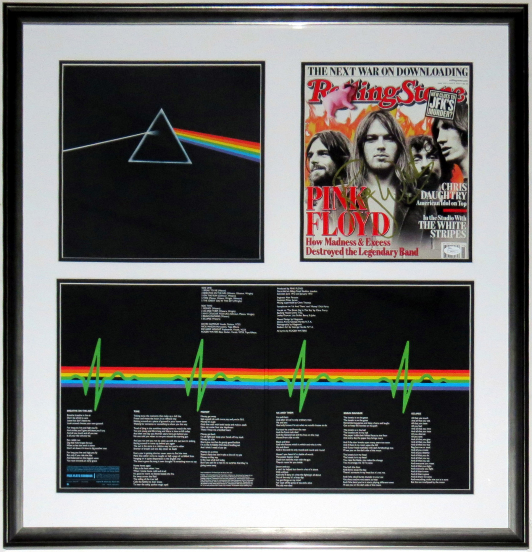 Roger Waters Signed Rolling Stone Magazine - JSA COA Authenticated - Professionally Framed & Pink Floyd Dark Side of the Moon Album - 32x32