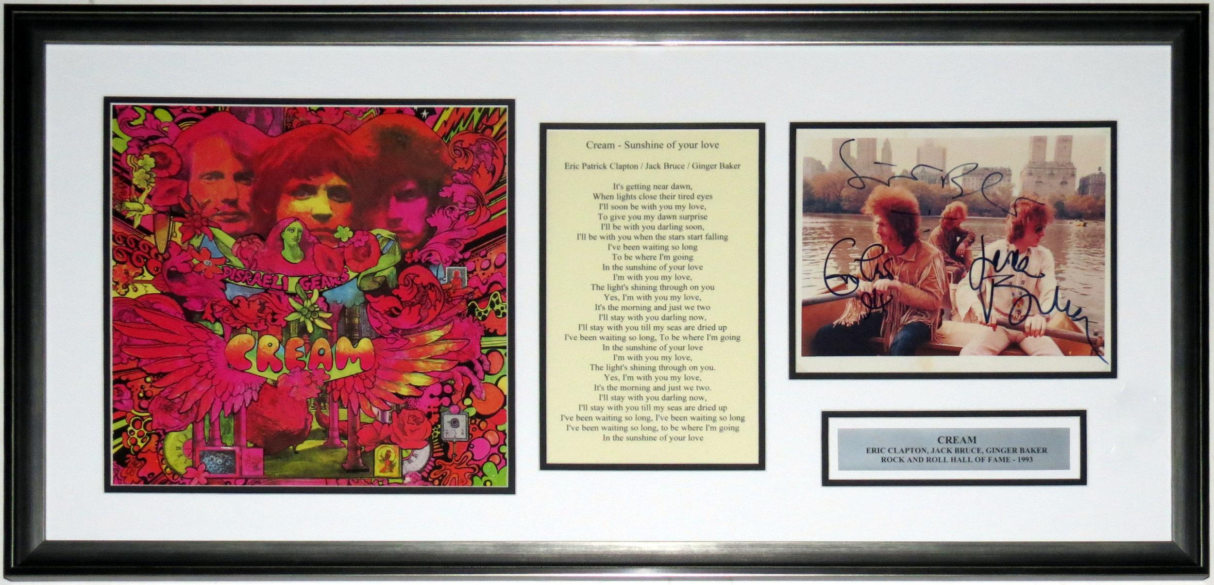 Eric Clapton Jack Bruce Ginger Baker Signed 8x10 Photo - JSA COA Authenticated - Professionally Framed & Disraeli Gears Album & Lyrics 38x18