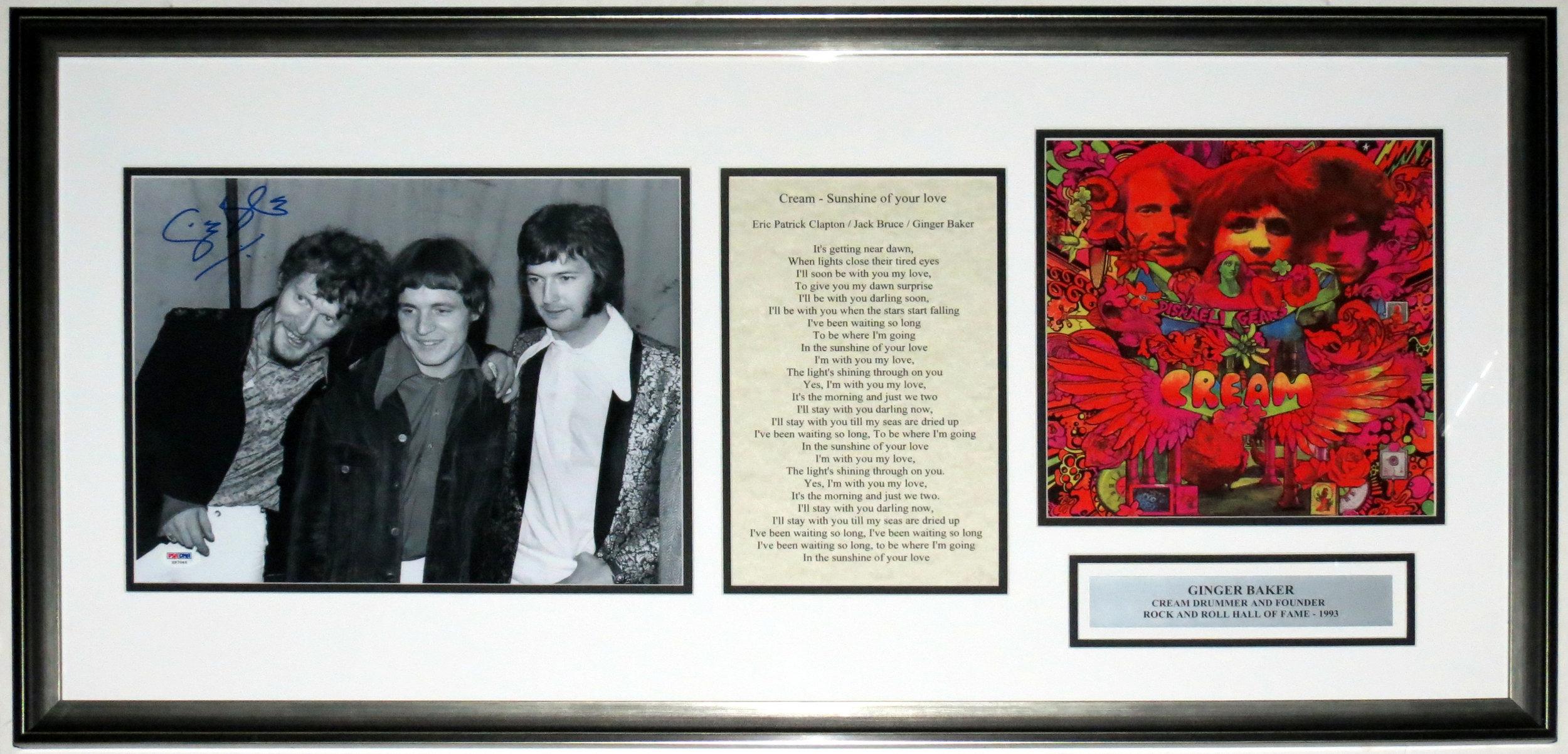Ginger Baker Signed Cream Concert 11x14 Photo - PSA DNA COA Authenticated - Custom Framed & Disraeli Gears Album & Lyrics 38x18