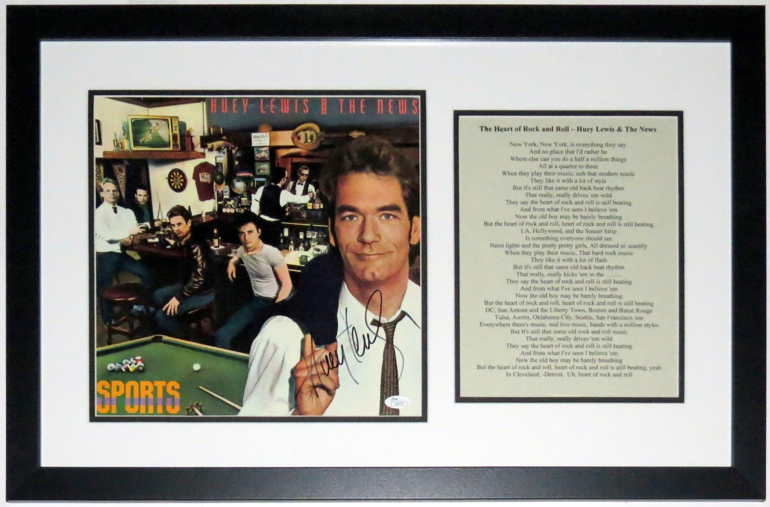Huey Lewis Signed Huey Lewis and the News Sports Album - JSA COA Authenticated - Custom Framed & Lyrics 28x18