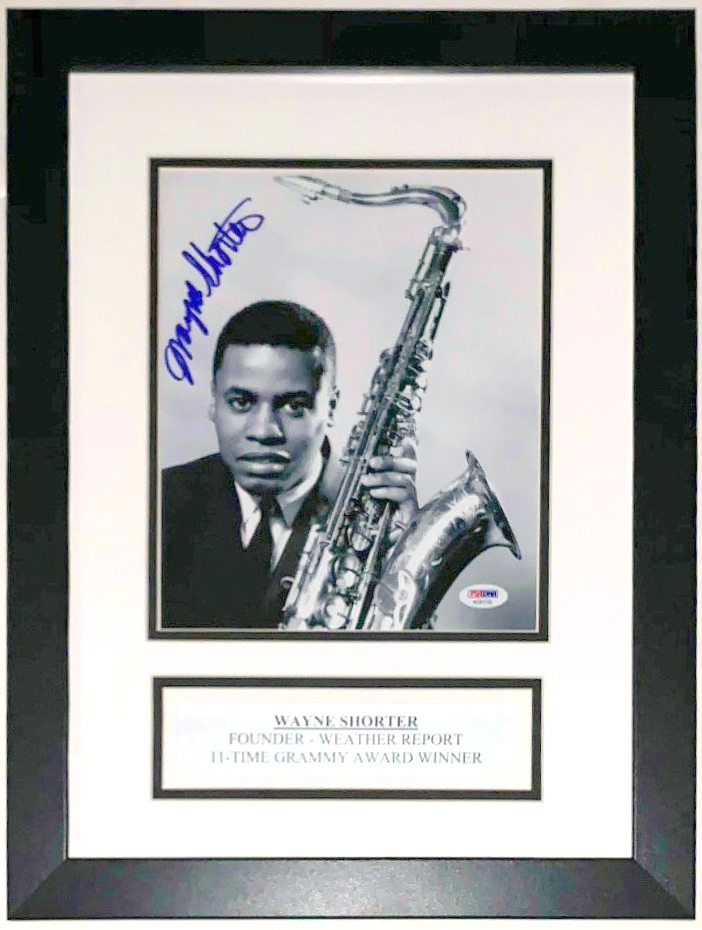 Wayne Shorter Signed Weather Report 8x10 Photo - PSA DNA COA Authenticated - Custom Framed & Plate