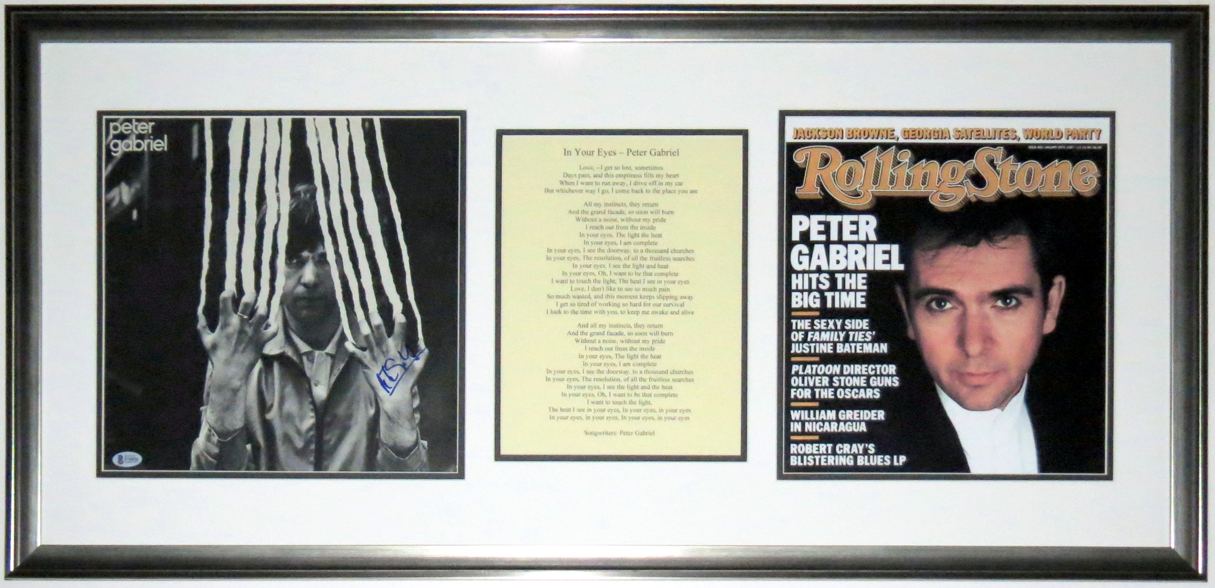 Peter Gabriel Signed 2 Album - BAS COA Authenticated - Professionally Framed & Rolling Stone Magazine Photo & In Your Eyes Lyrics 38x18