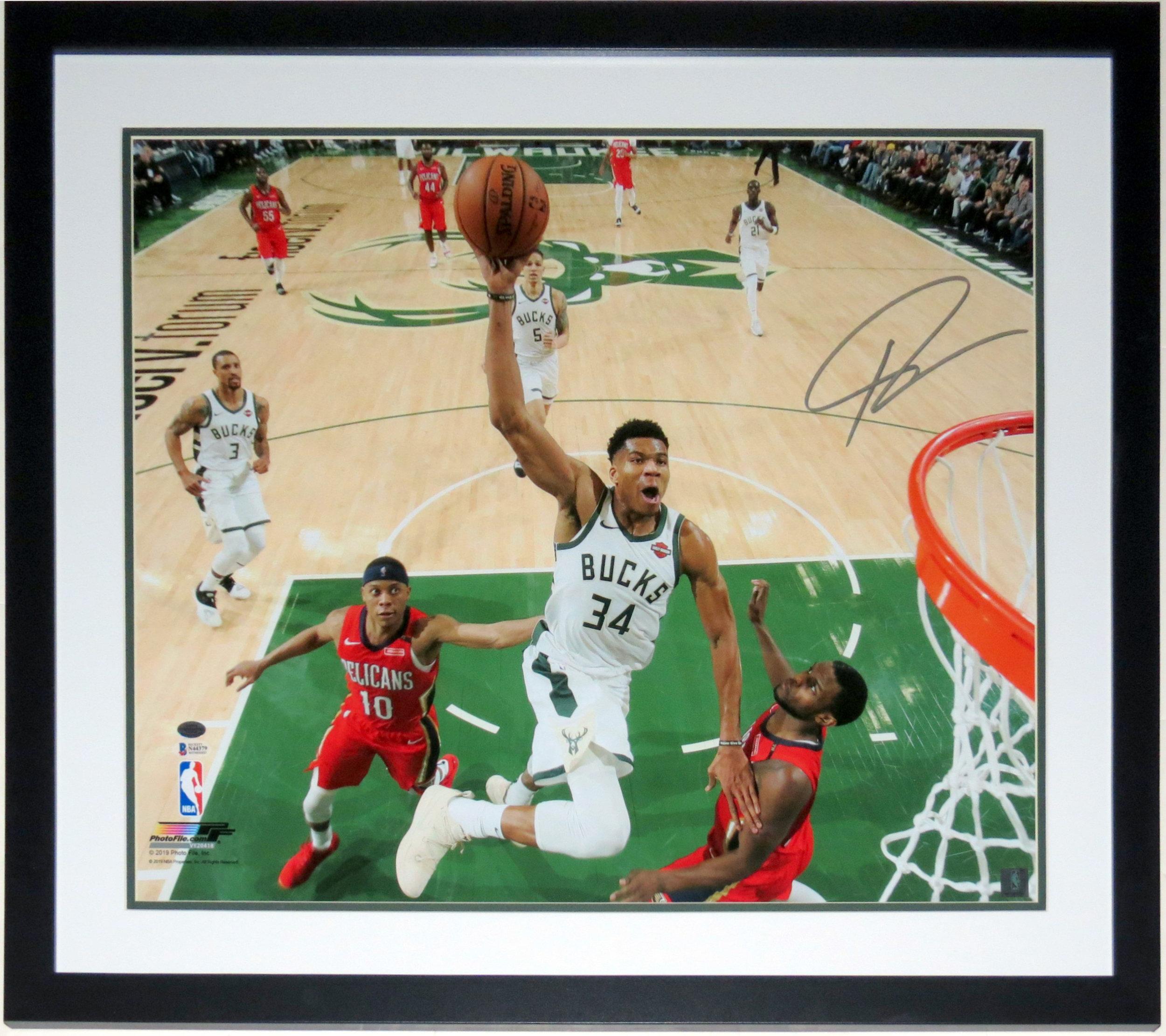 Giannis Antetokounmpo Signed 2019 Milwaukee Bucks 20x24 Photo - Beckett Authentication Services BAS COA - Professionally Framed