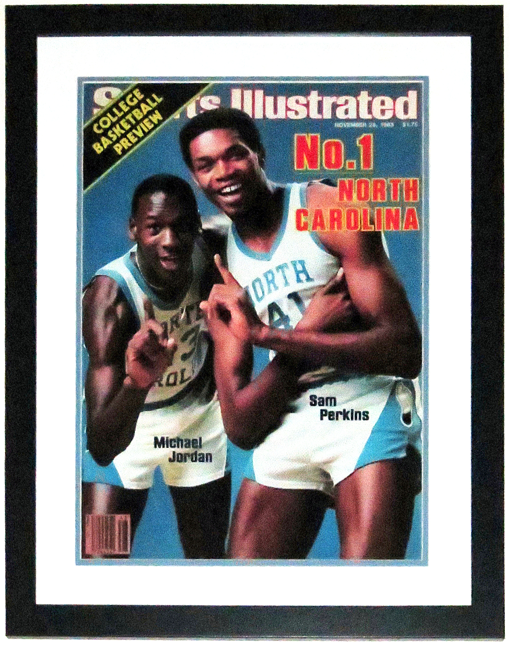 Michael Jordan 1983 North Carolina Tar Heels Sports Illustrated Magazine 16x20 Photo - Professionally Framed