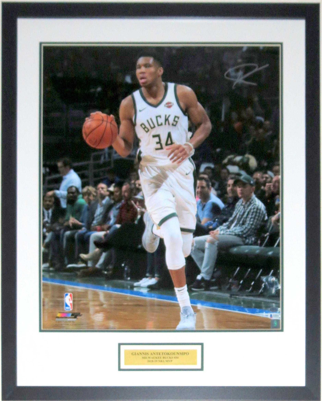 Giannis Antetokounmpo Autographed 2018-2019 Milwaukee Bucks 20x24 Photo - Beckett Authentication Services BAS COA - Professionally Framed & 2019 NBA MVP Plate