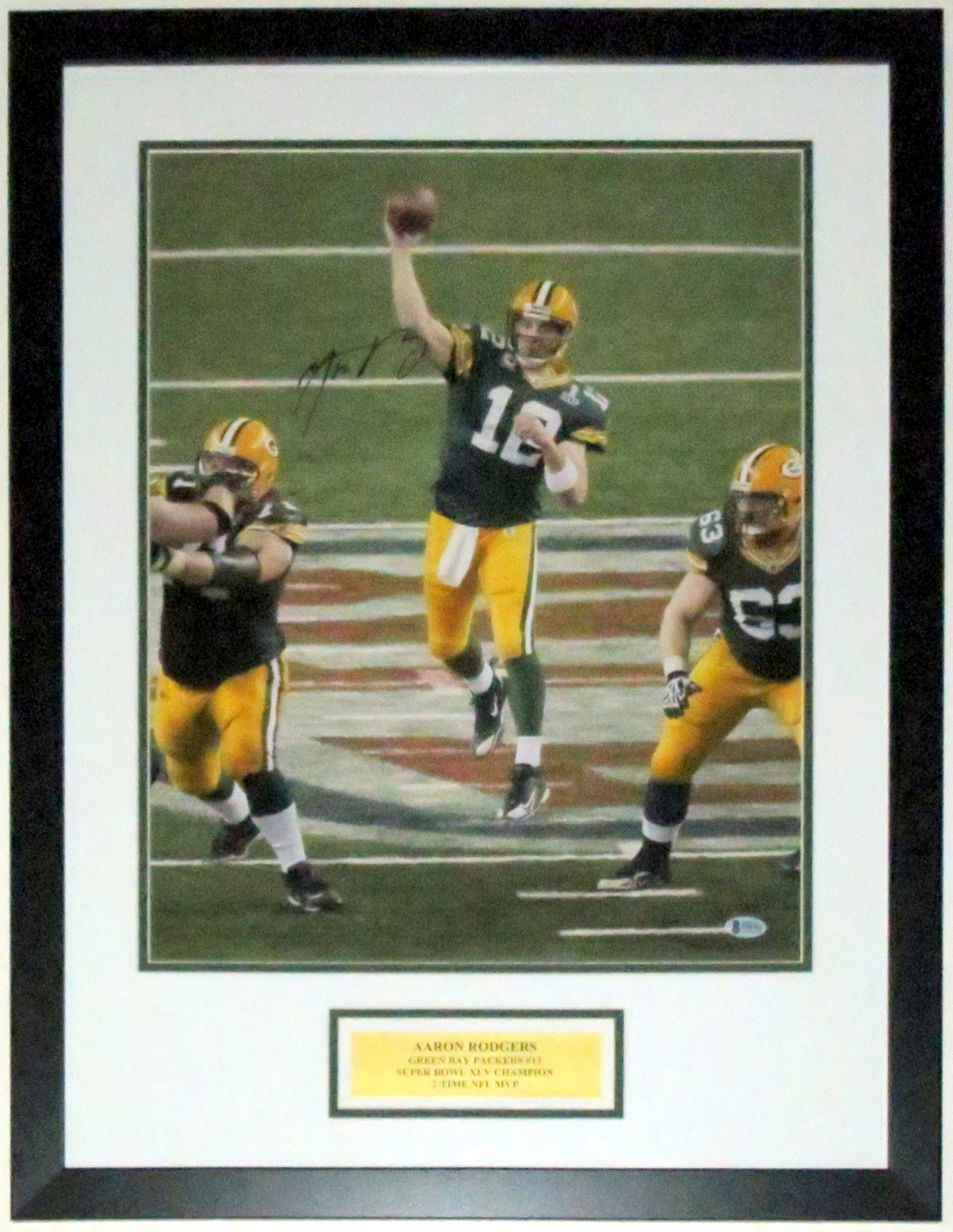 Aaron Rodgers Signed Green Bay Packers Super Bowl XLV 16x20 - Beckett Authentication Services COA Authenticated - Professionally Framed & Plate