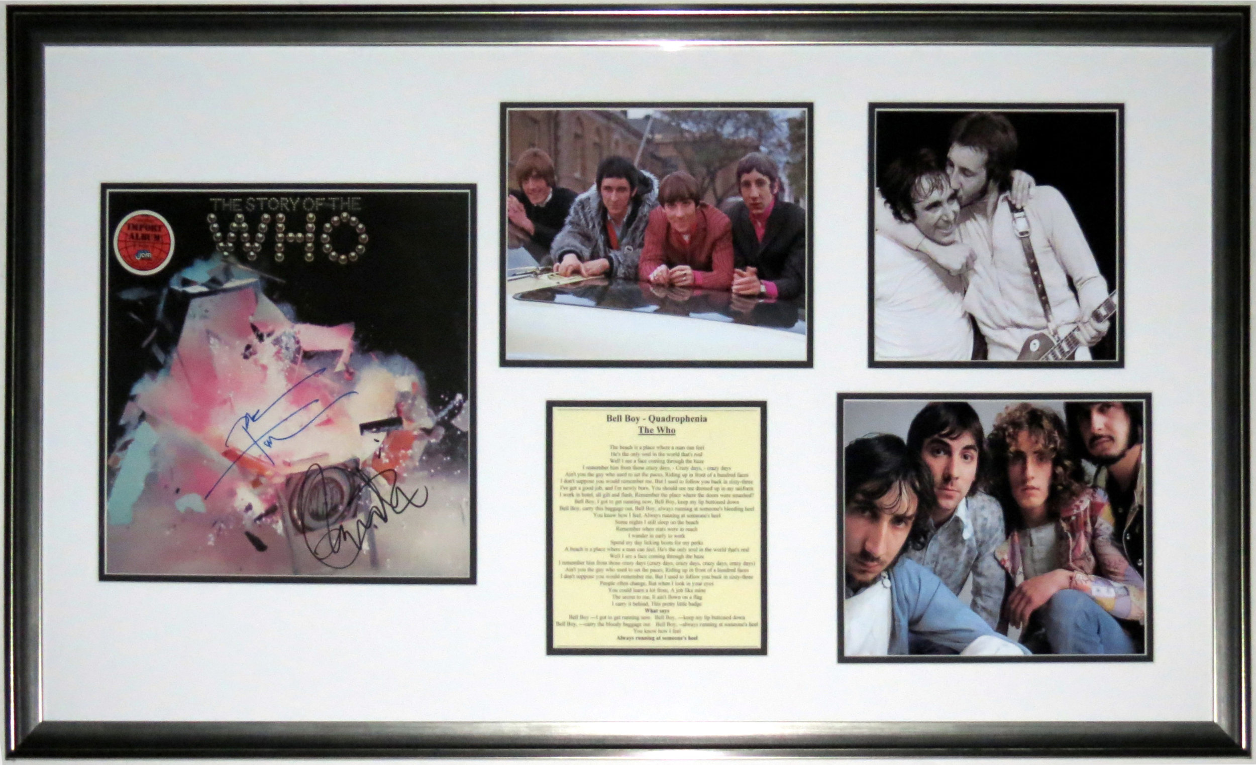 Keith Moon & Pete Townshend Dual Signed The Who Greatest Hits Album - JSA COA Authenticated - Professionally Framed & Photograph Compilation