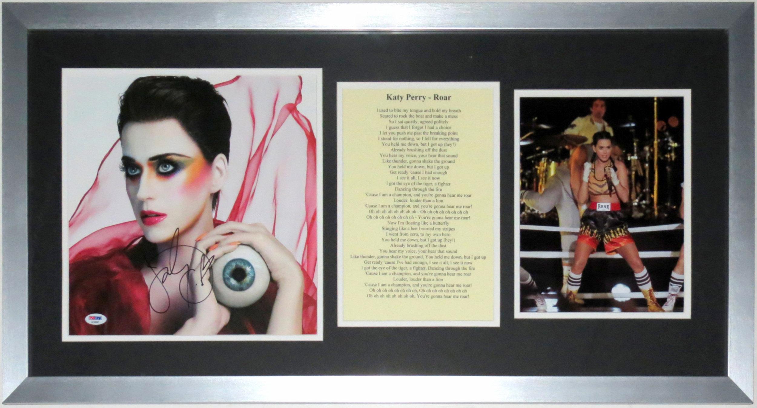 Katy Perry Signed 10x10 Photo Compilation - PSA DNA COA Authenticated - Professionally Framed & Concert 8x10 Photo & Lyrics