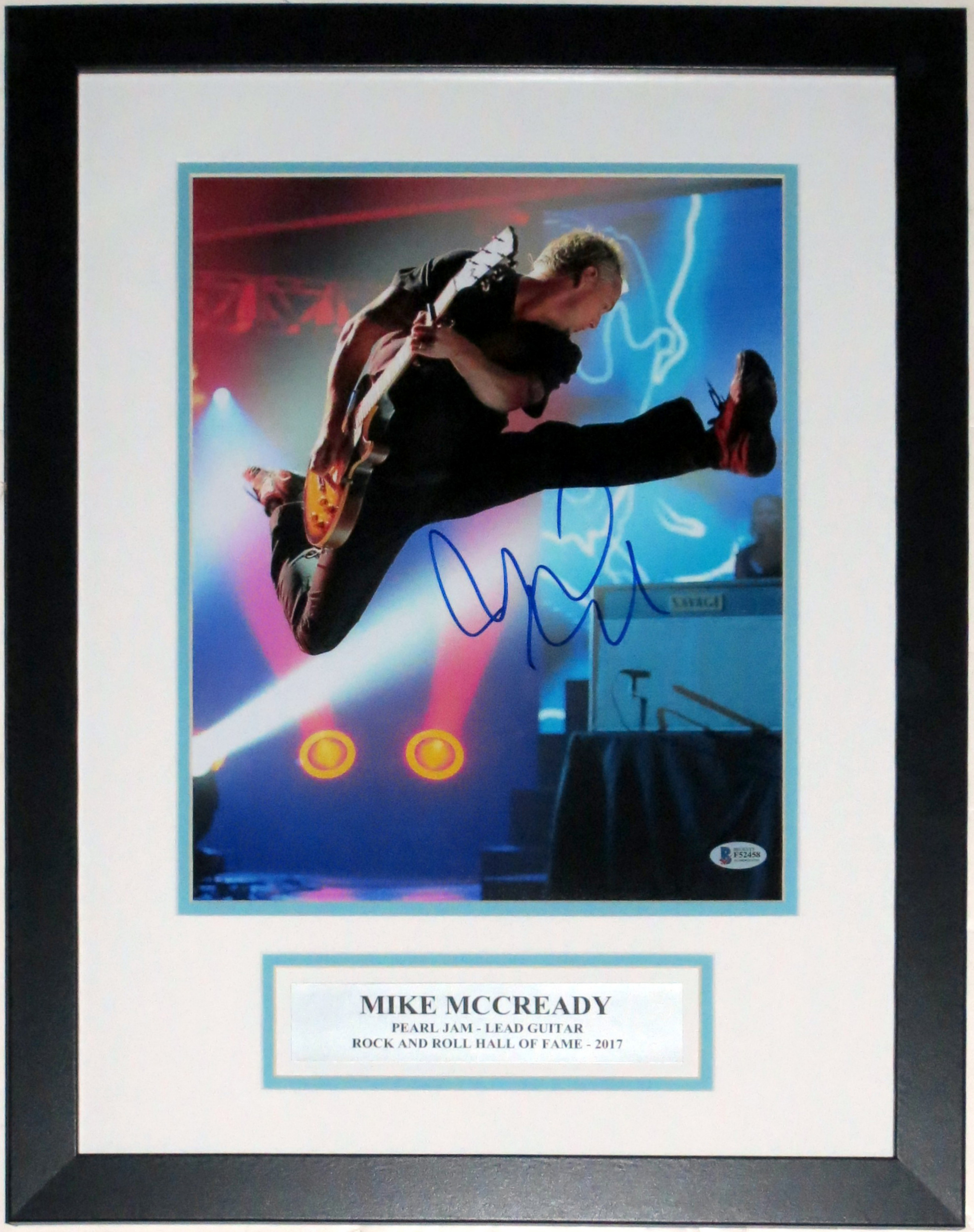 Mike McCready Signed Pearl Jam Concert 11x14 Photo - Beckett Authentication Services BAS COA Authenticated - Professionally Framed & Plate