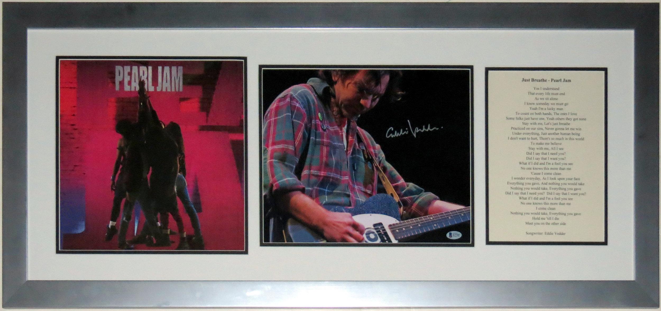 Eddie Vedder Signed Pearl Jam 11x14 Photo & Ten Album Compilation - Beckett Authentication