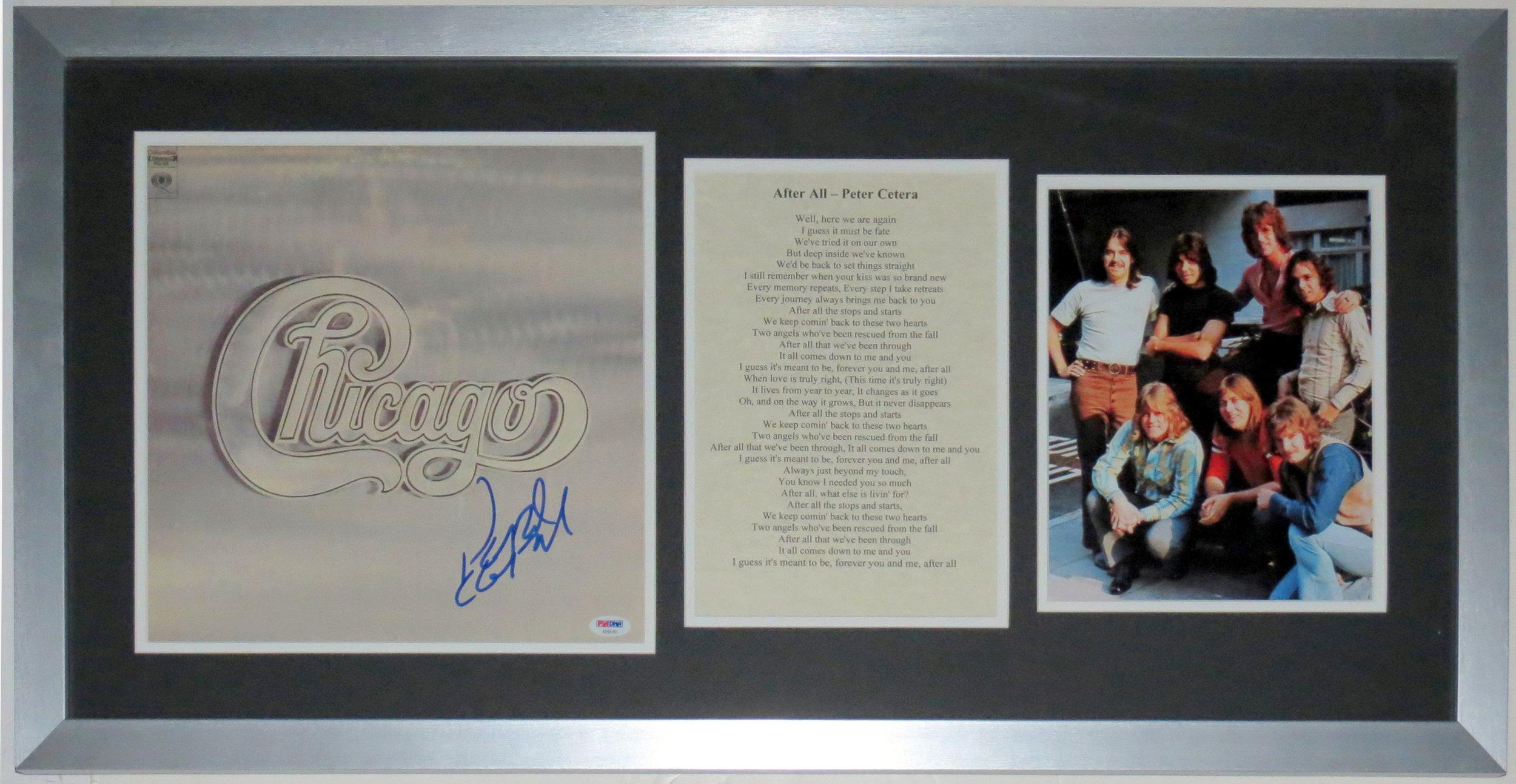 Peter Cetera Signed Chicago Album - PSA DNA COA Authenticated - Professionally Framed & Band 8x10 Photo & Lyrics 34x16