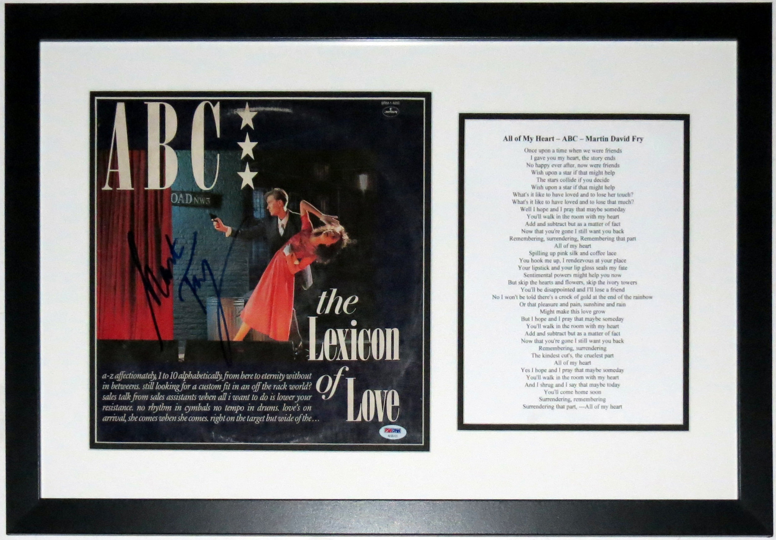 Martin Fry Signed ABC The Lexicon of Love Album - PSA DNA COA Authenticated - Professionally Framed & Lyrics