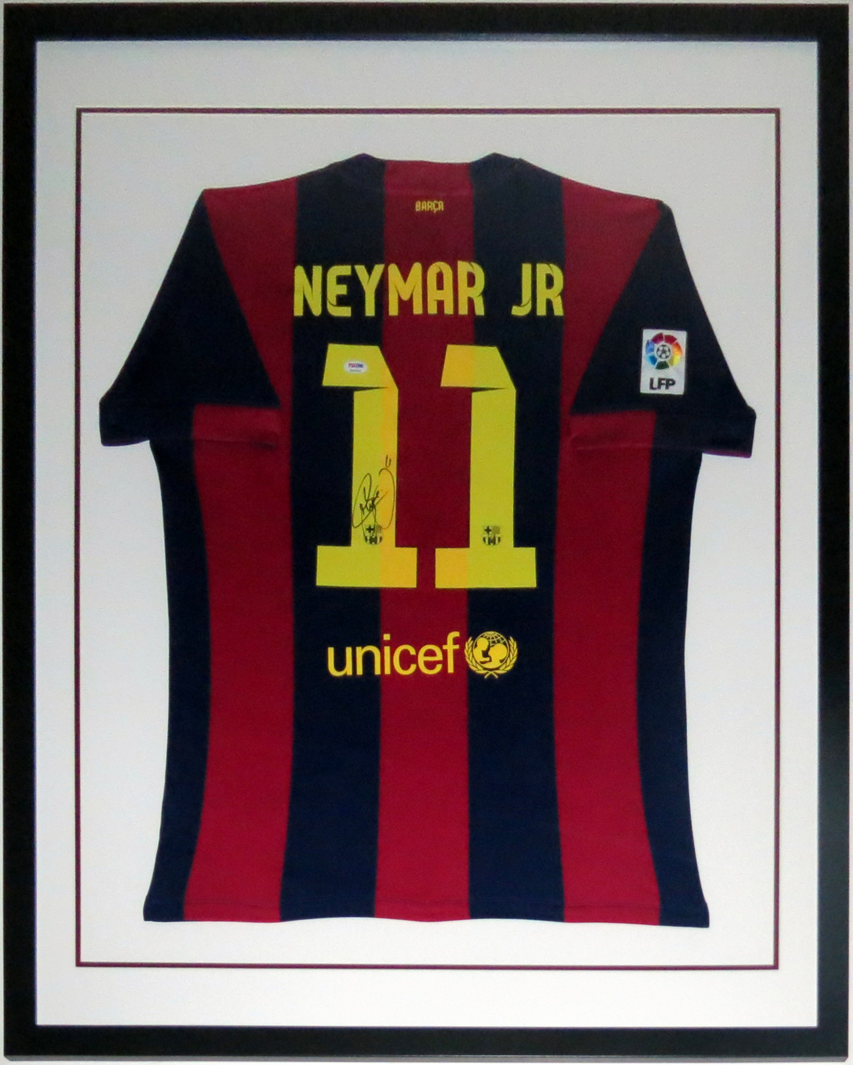 Neymar Jr. Signed FC Barcelona Jersey - PSA DNA COA Authenticated - Professionally Framed 34x42