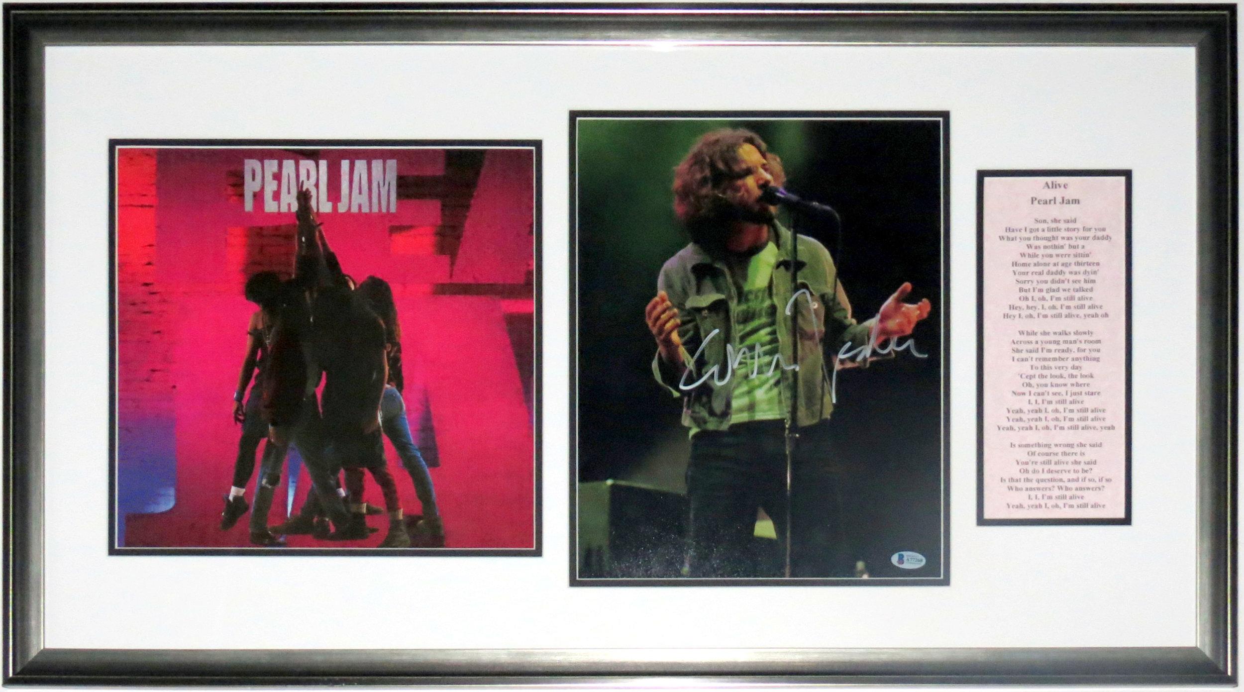 Eddie Vedder Signed Pearl Jam Concert 11x14 Photo - Beckett BAS COA Authenticated - Professionally Framed & Ten Album & Alive Lyrics