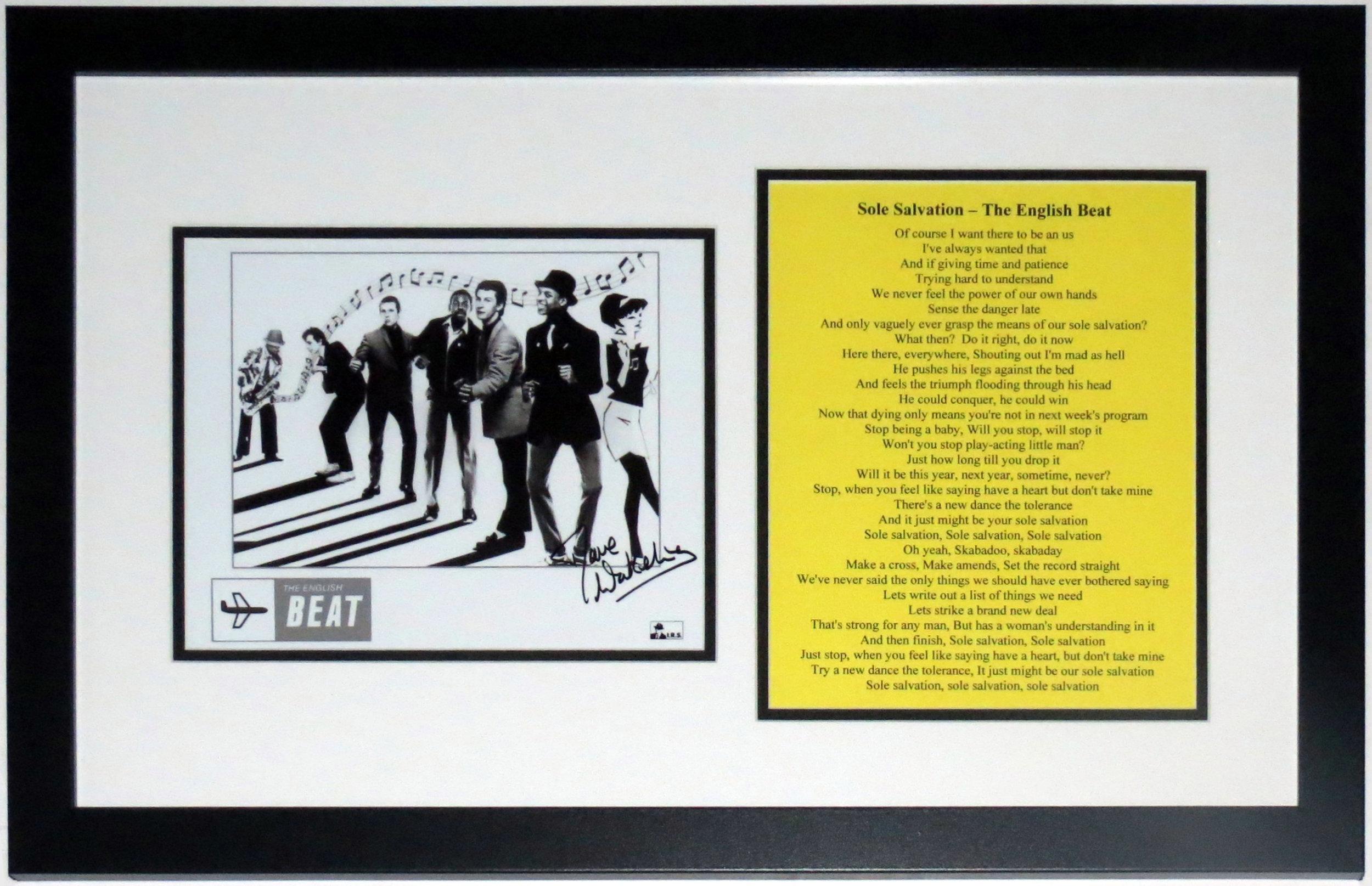 David Wakeling Signed The English Beat 8x10 Tour Photo - BSI COA Authenticated - Professionally Framed & Lyrics