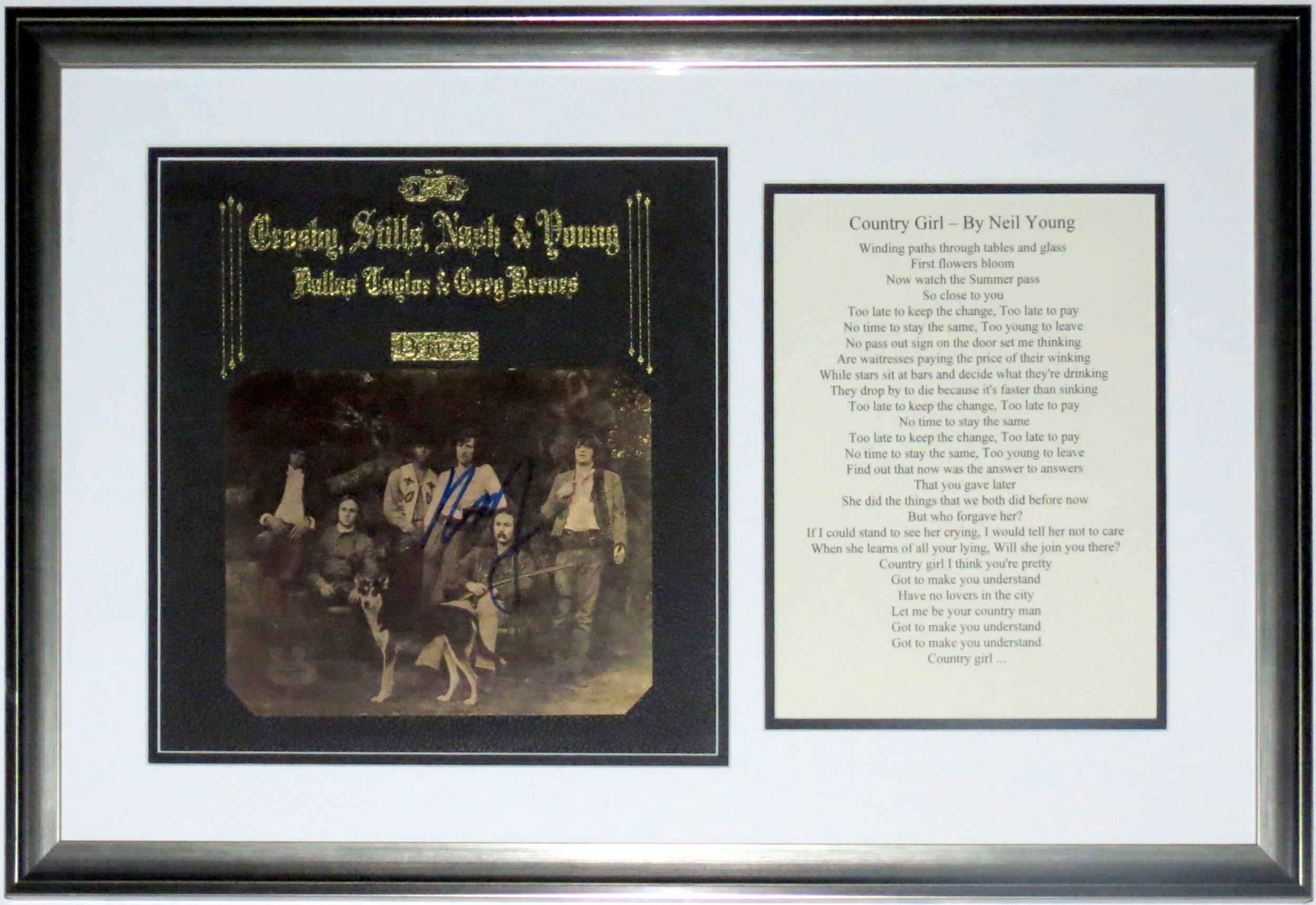 Neil Young Signed CSNY Deja Vu Album - BSI COA - Professionally Framed & Plate