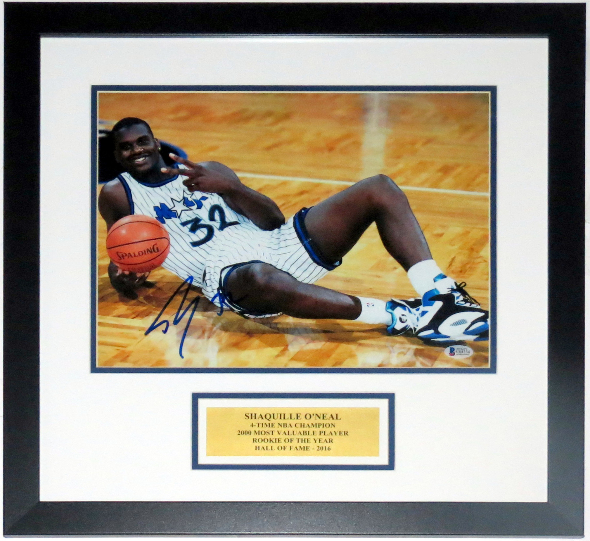 Shaquille O'Neal Signed 11x14 Photo - Beckett Authentication Services COA Authenticated - Professionally Framed & Plate