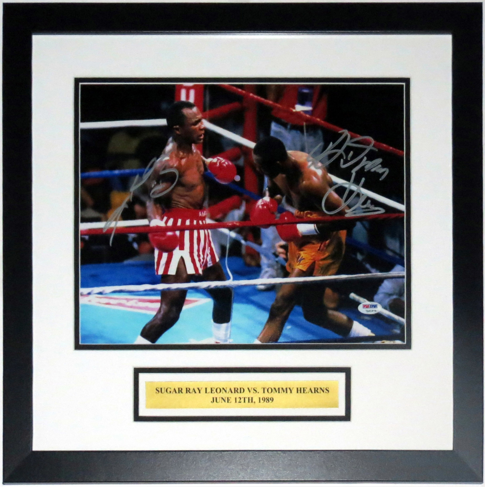 Sugar Ray Leonard & Tommy Hearns Dual Signed 11x14 Photo - PSA DNA COA Authenticated - Professionally Framed & Plate