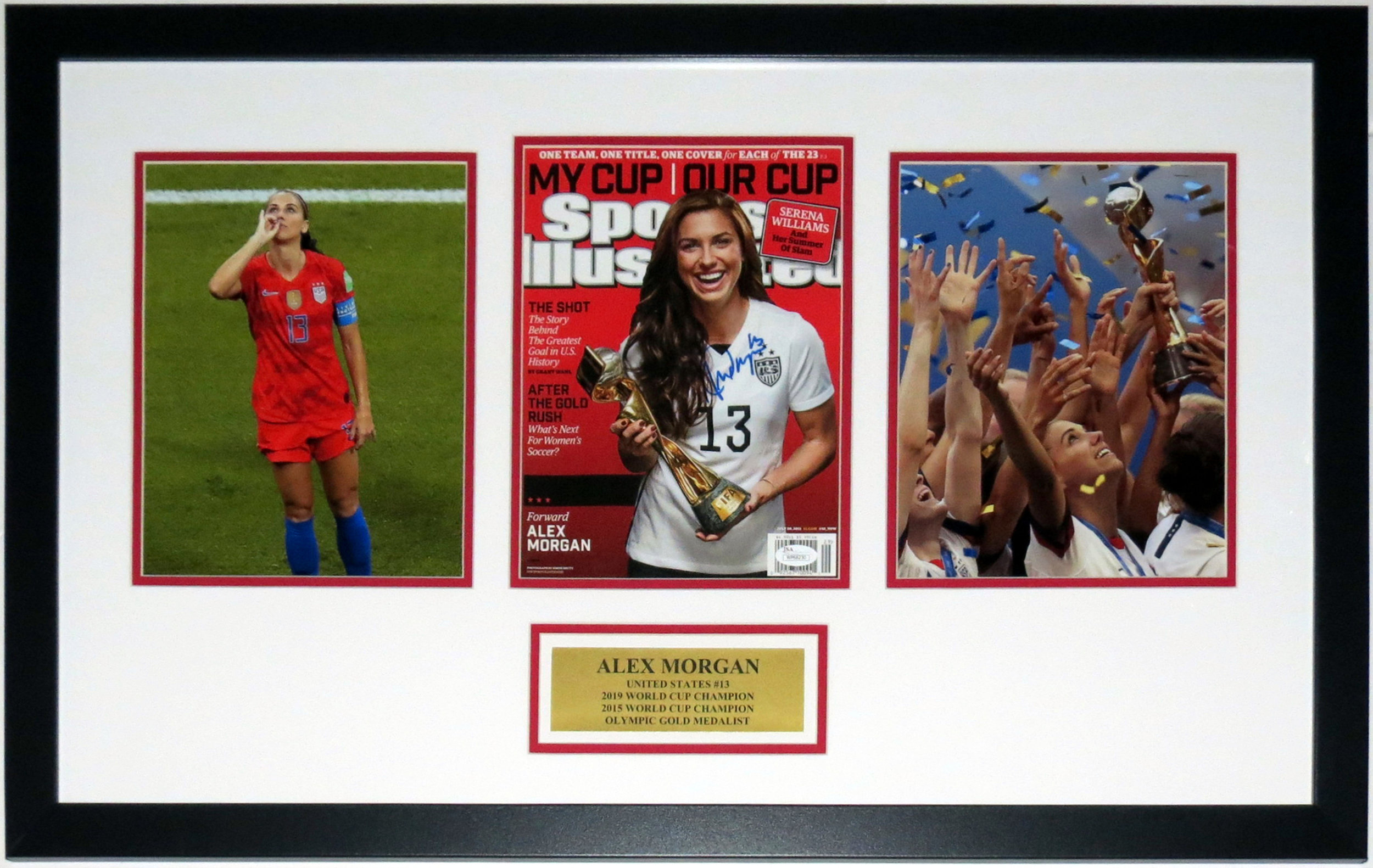 Alex Morgan Signed Team USA 2019 World Cup Champions 8x10 Photo Compilation - JSA COA Authenticated- Professionally Framed & Plate
