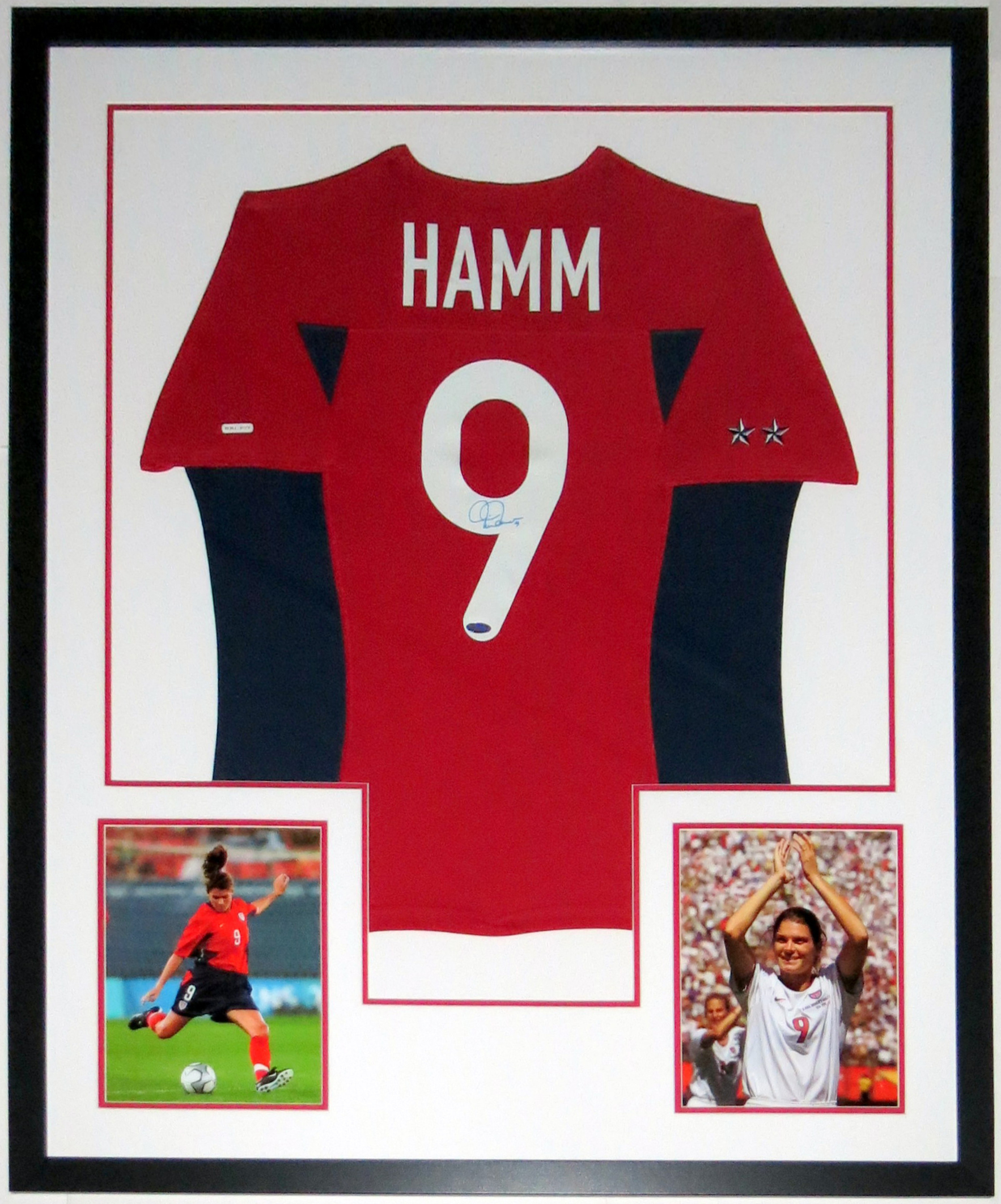 Mia Hamm Signed Team USA Nike Jersey - Steiner Sports COA Authenticated - Professionally Framed & World Cup 8x10 Photo 34x42