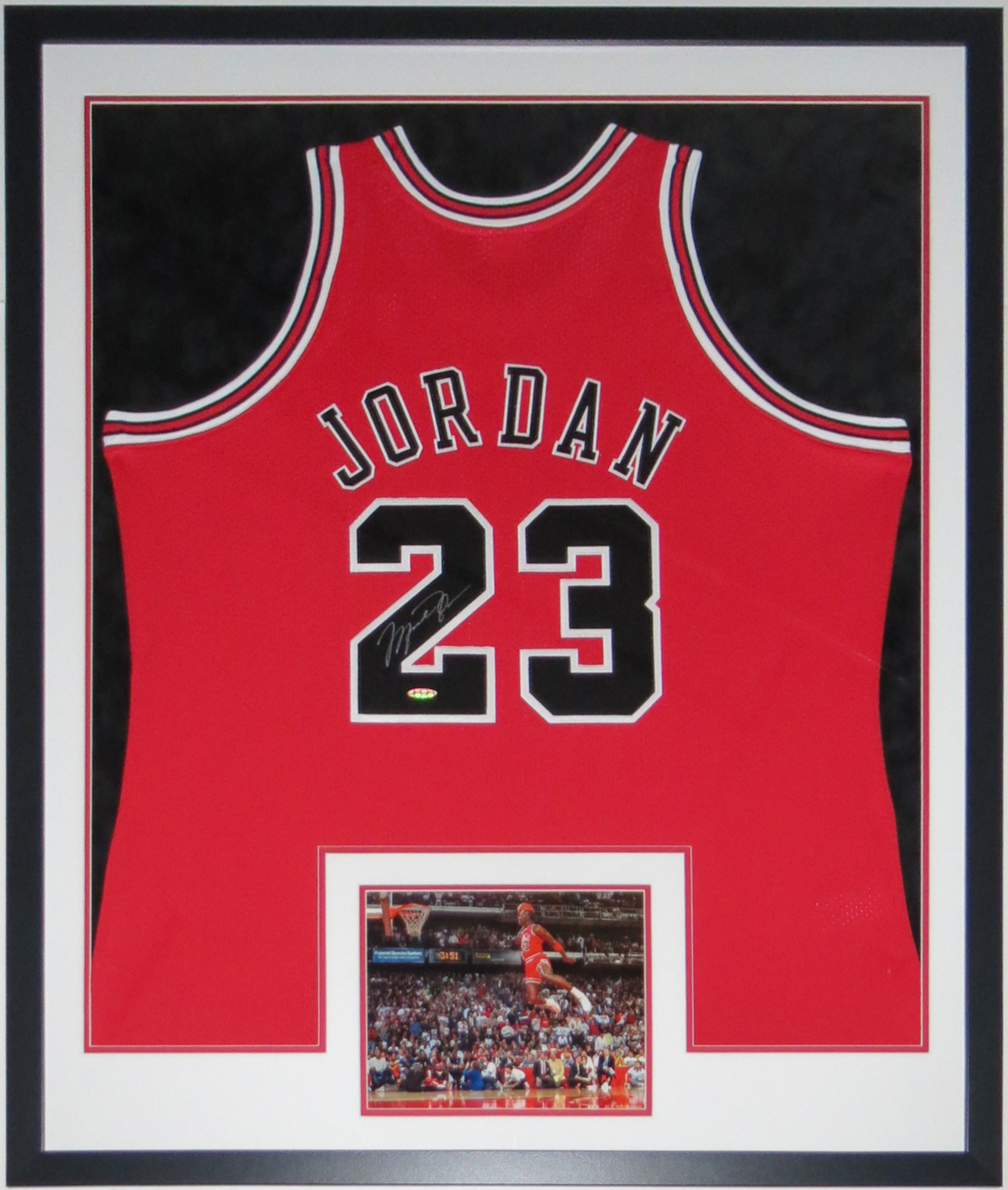 Michael Jordan Signed Authentic Nike Chicago Bulls Jersey - UDA COA Upper Deck Authenticated - Professionally Framed & 1988 Slam Dunk Contest 8x10 34x42