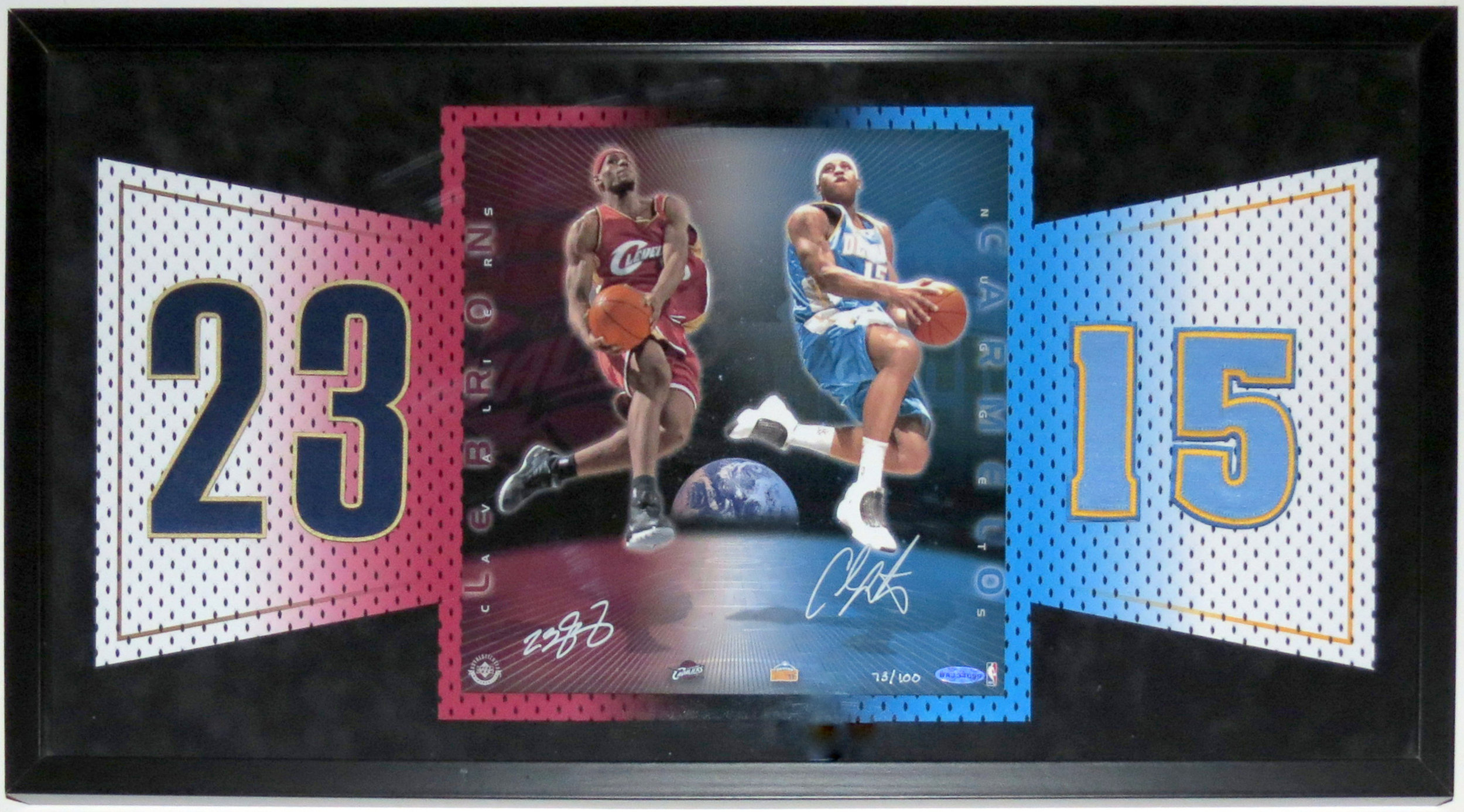 LeBron James & Carmelo Anthony Dual Autographed Rookie Jersey Numbers Photo Limited #'d /100 - UDA Upper Deck Authenticated COA - Professionally Framed