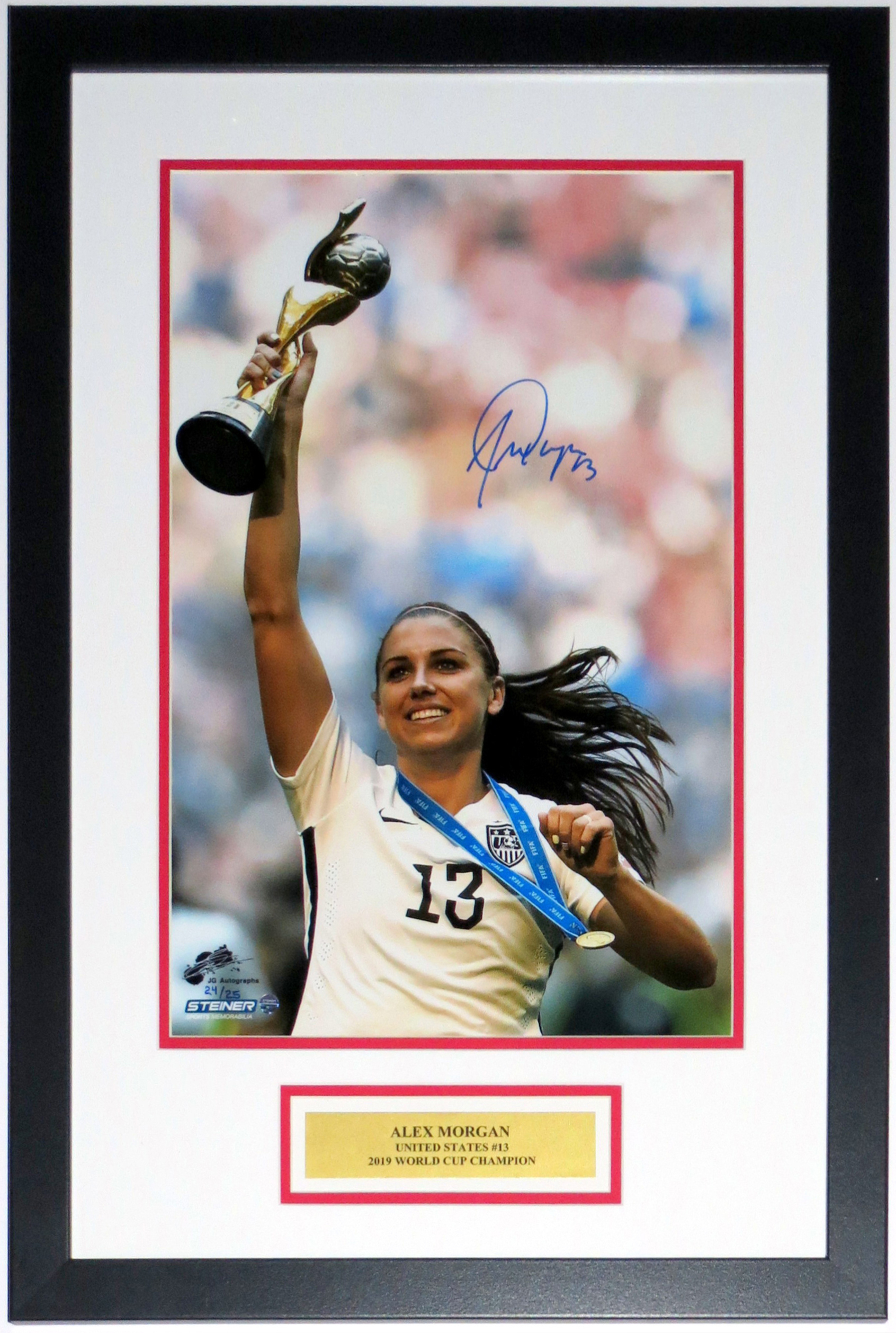 Alex Morgan Signed USA World Cup 12x18 Photo Limited to /25 - Steiner Sports COA Authenticated - Professionally Framed & Plate