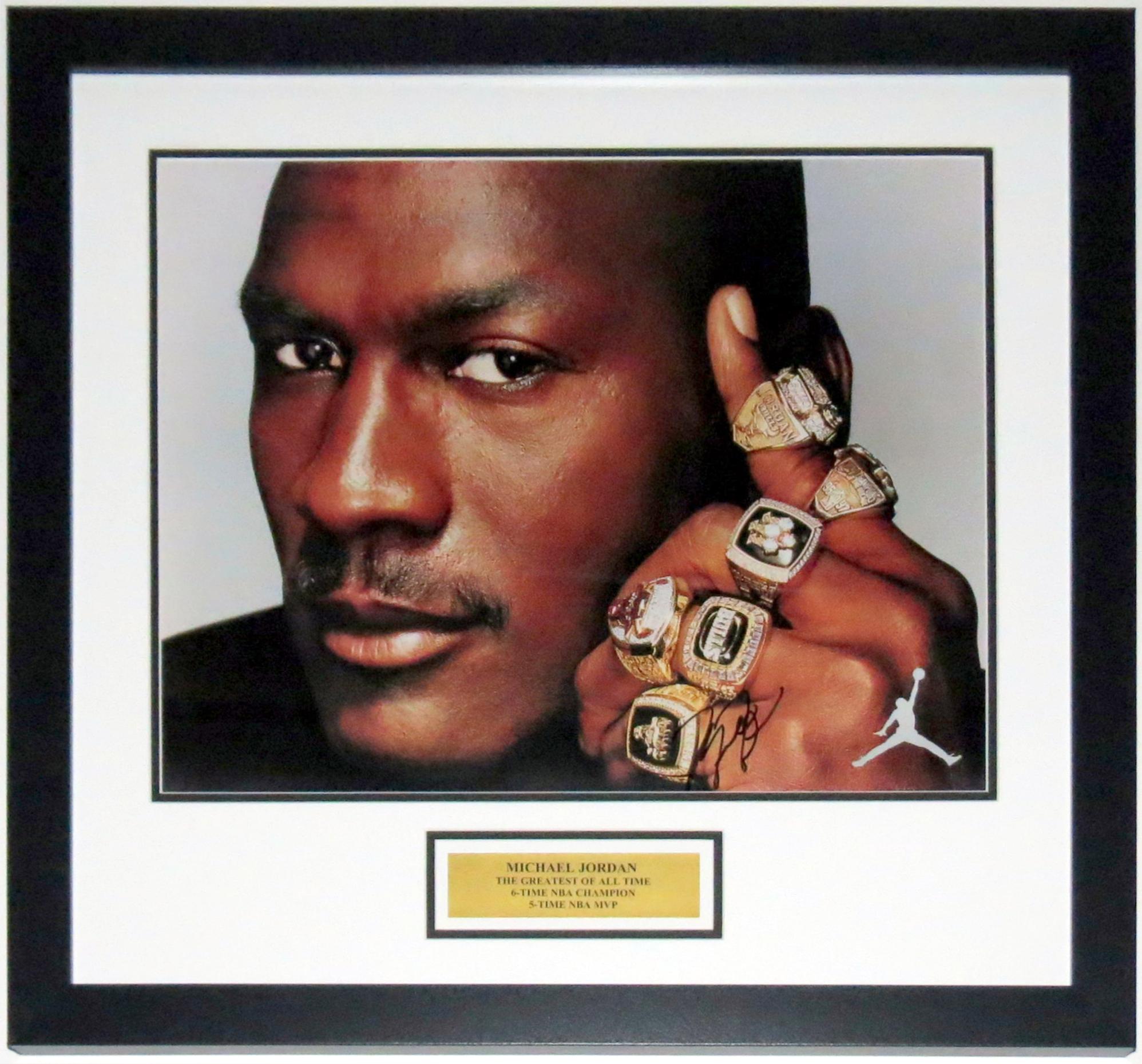 Michael Jordan Signed Chicago Bulls 6 Rings Air Jordan 16x20 Photo - JSA COA Authenticated - Professionally Framed & Plate