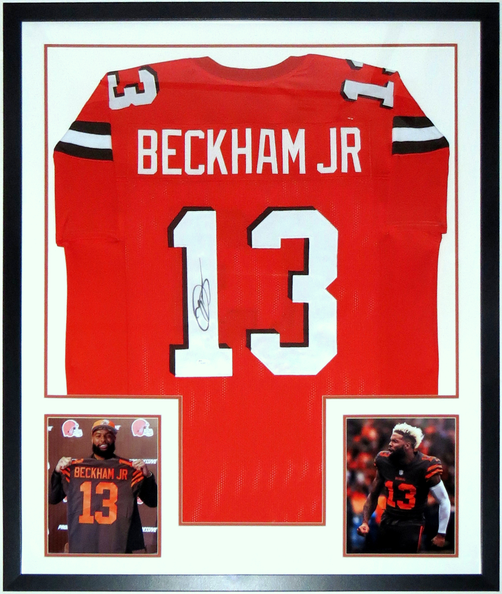 Odell Beckham Jr Signed 2019 Cleveland Browns Jersey - JSA COA Authenticated - Professionally Framed & 2 8x10 Photo 34x42