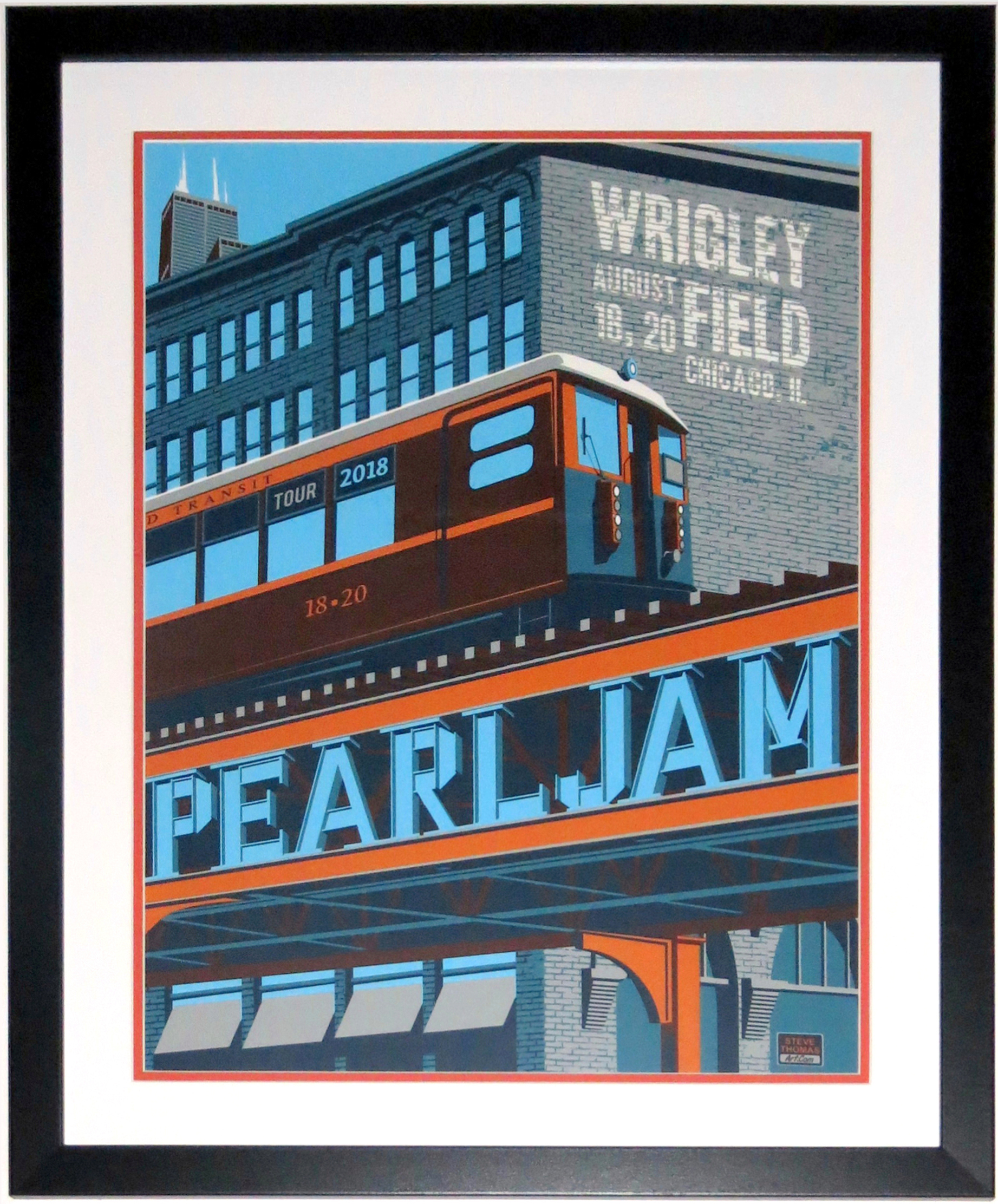 Pearl Jam Wrigley Field Chicago 2016 Tour Poster by Steve Thomas 8/18/18 -8/20/18 - Professionally Framed