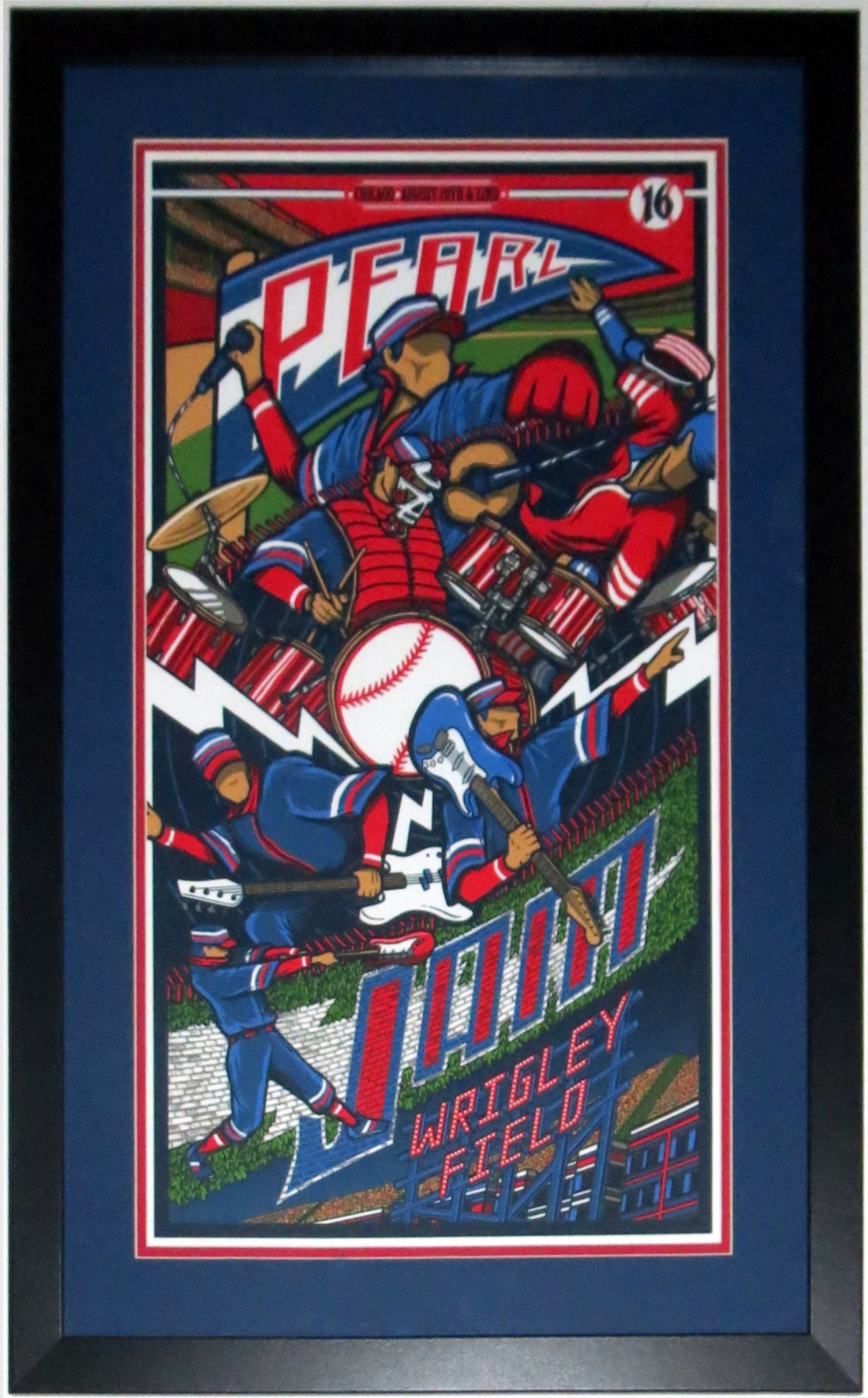 Pearl Jam Wrigley Field Chicago 2016 Tour Poster by Brad Klausen 8/20/16 -8/22/16 - Professionally Framed