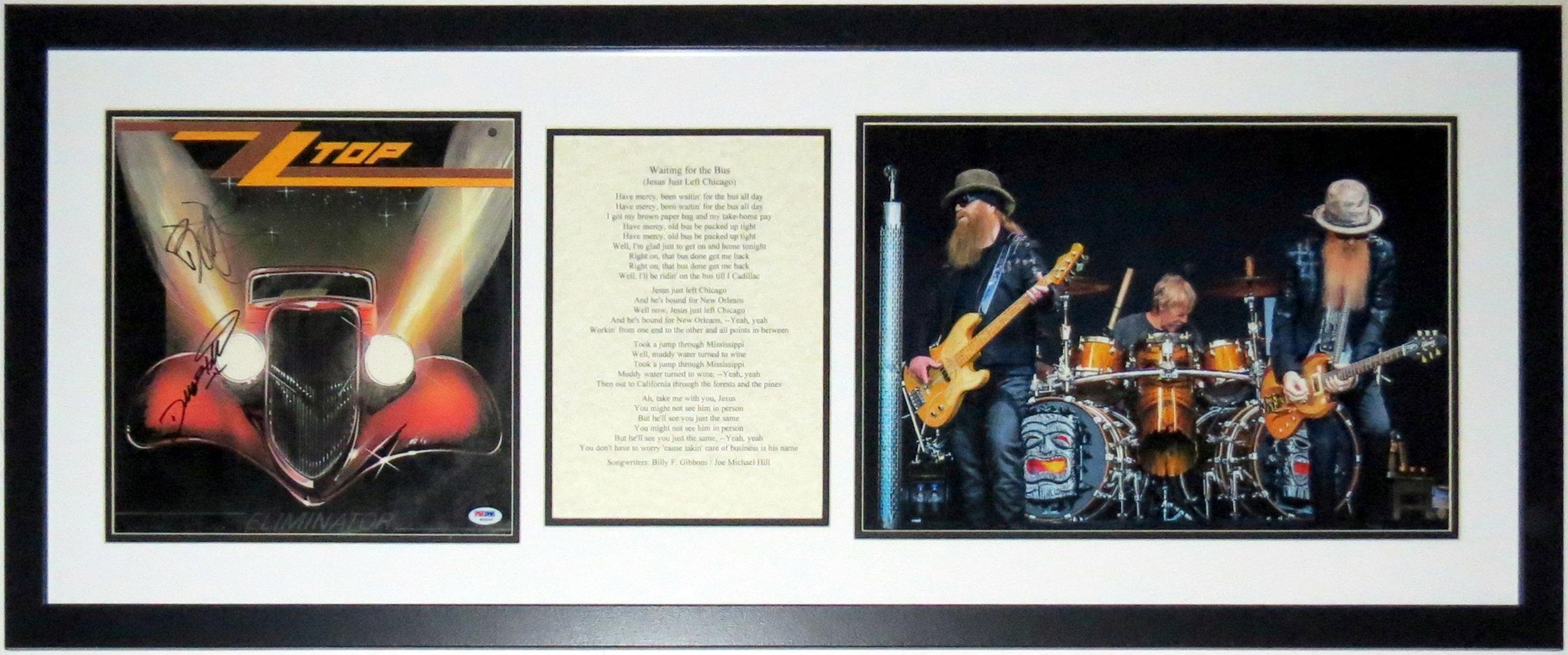 Dusty Hill & Billy Gibbons Dual Signed ZZ Top Eliminator Album - PSA DNA COA Authenticated - Professionally Framed & Lyrics & Concert Photo
