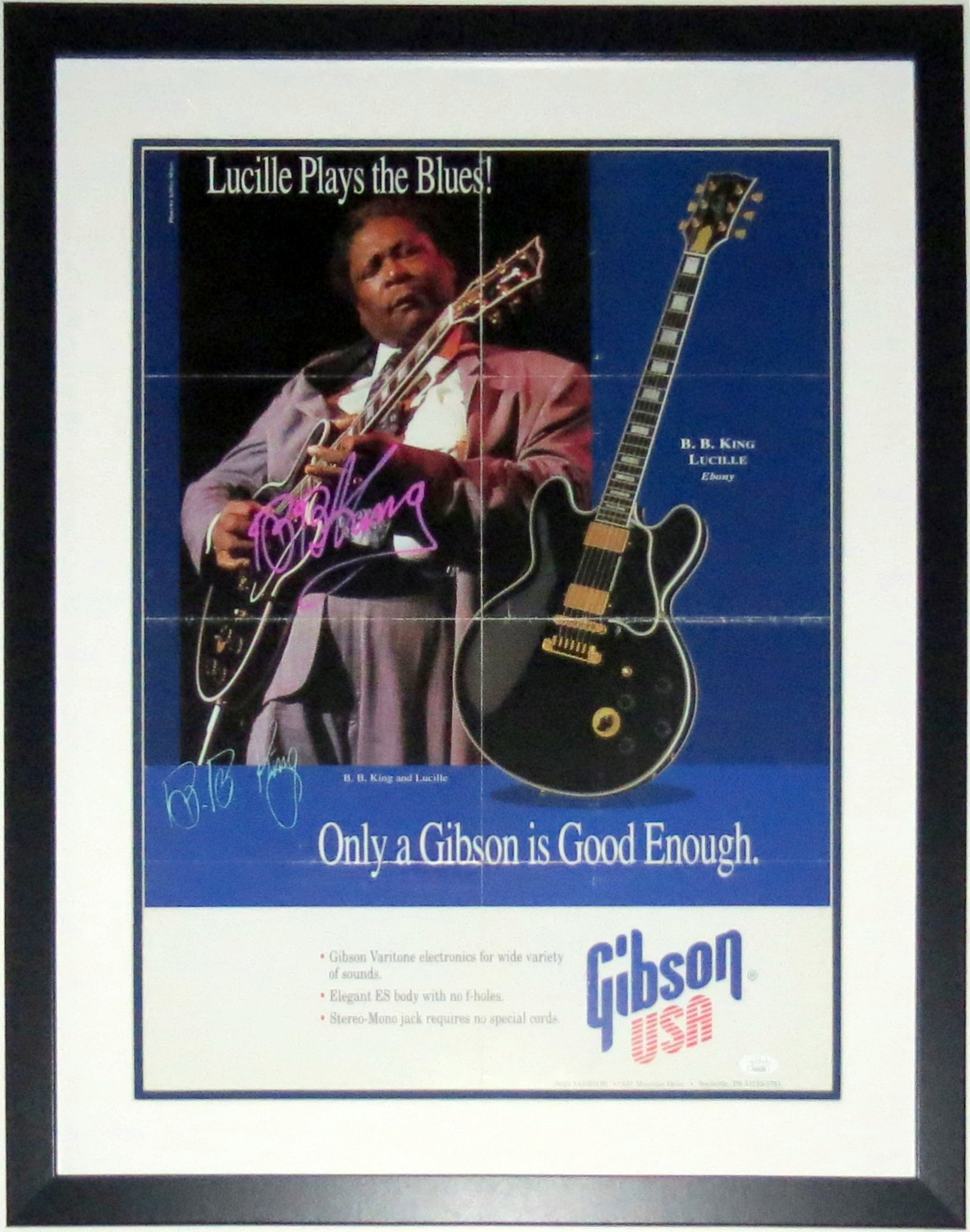 B.B. King Autographed Gibson Guitar 18x24 Poster - JSA COA Authenticated - Professionally Framed